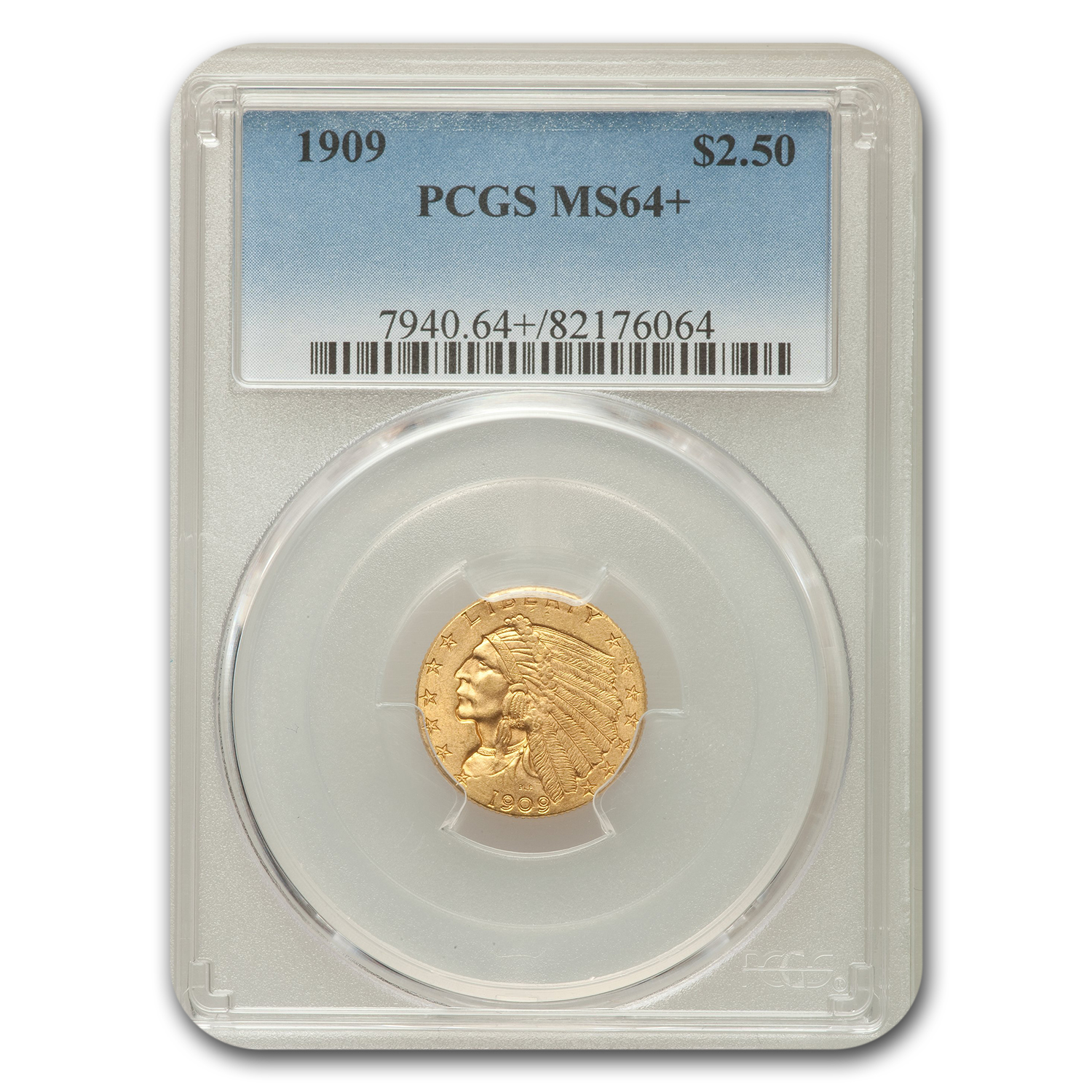 1909 $2.50 Indian Quarter Eagle MS-64+ PCGS