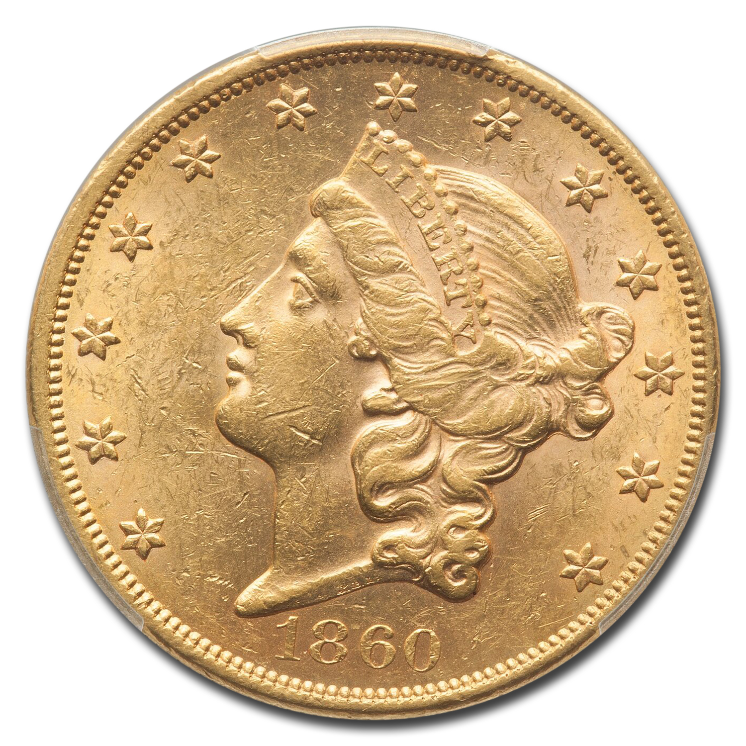 1860 $20 Liberty Gold Double Eagle MS-61 PCGS