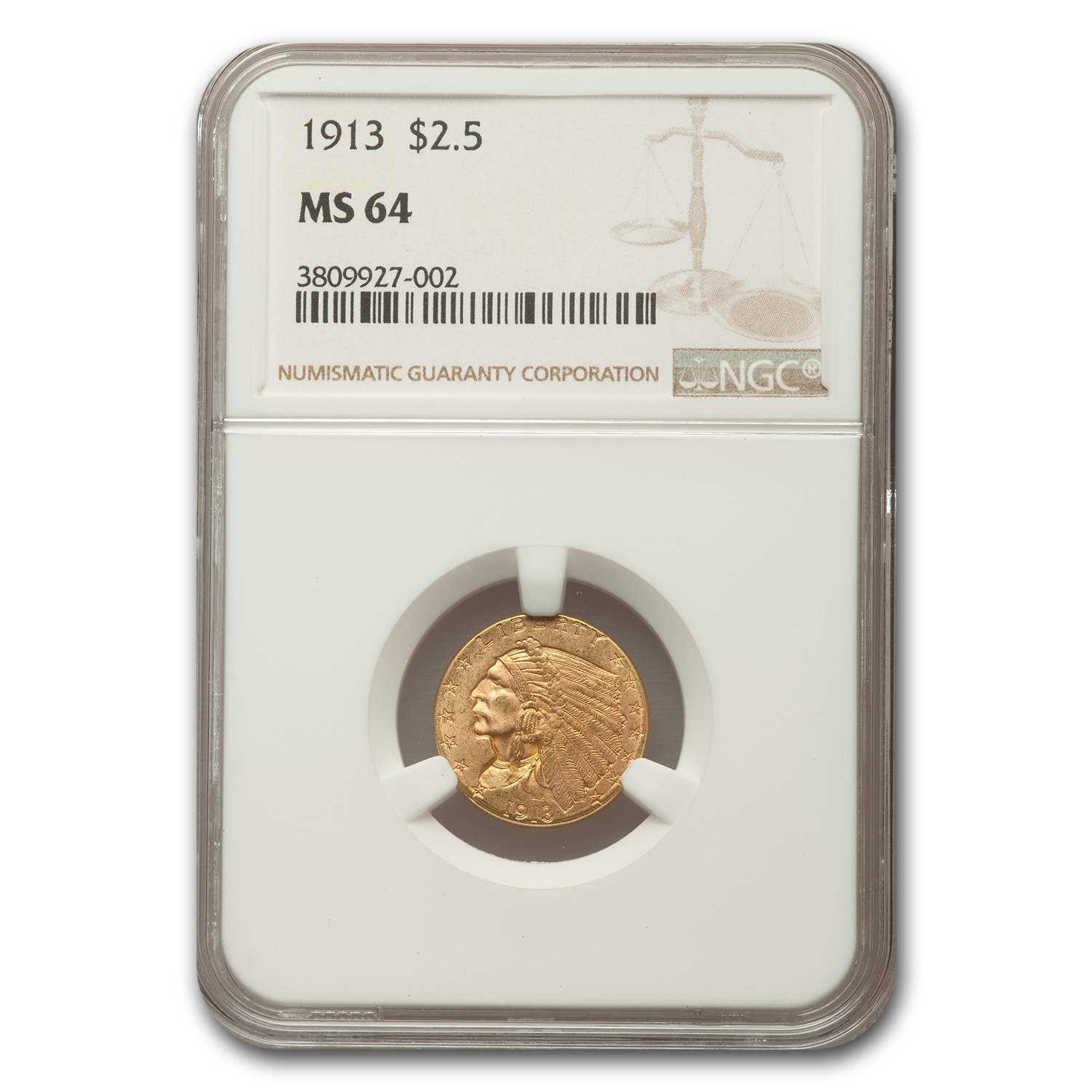 1913 $2.5 Indian Quarter Eagle MS-64 NGC