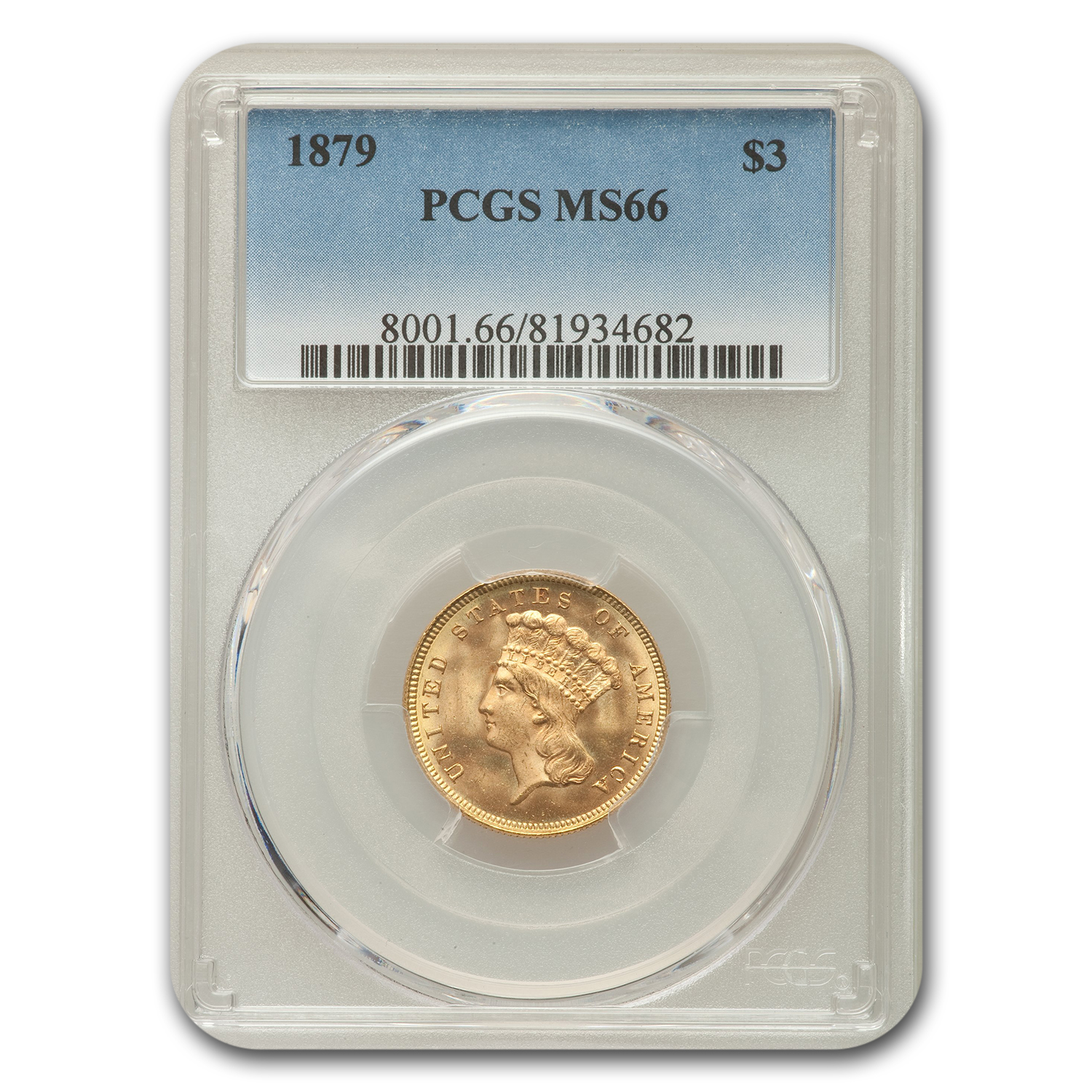 1879 Gold $3 Princess MS-66 PCGS