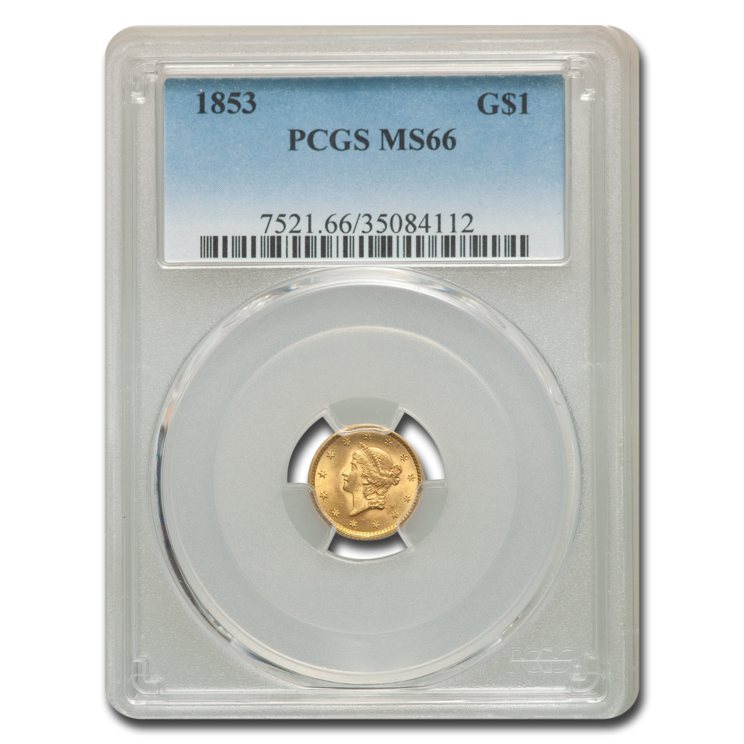 1853 $1.00 Liberty Head Gold Type 1 MS-66 PCGS