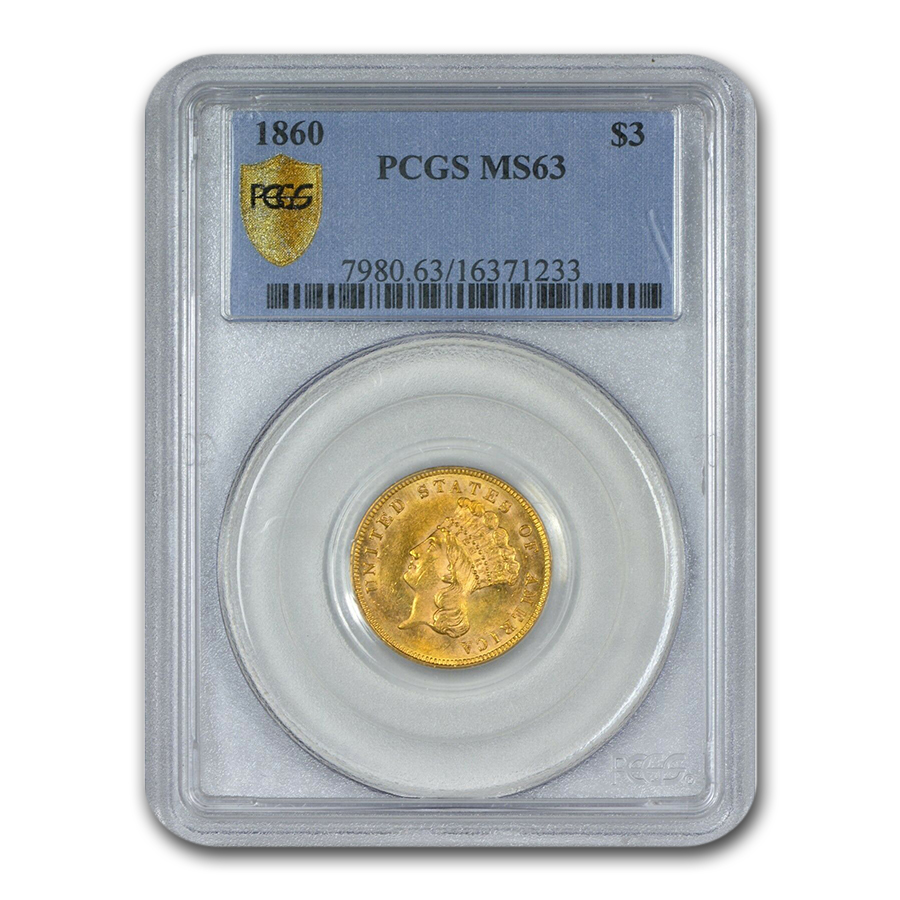 1860 $3 Gold Princess MS-63 PCGS