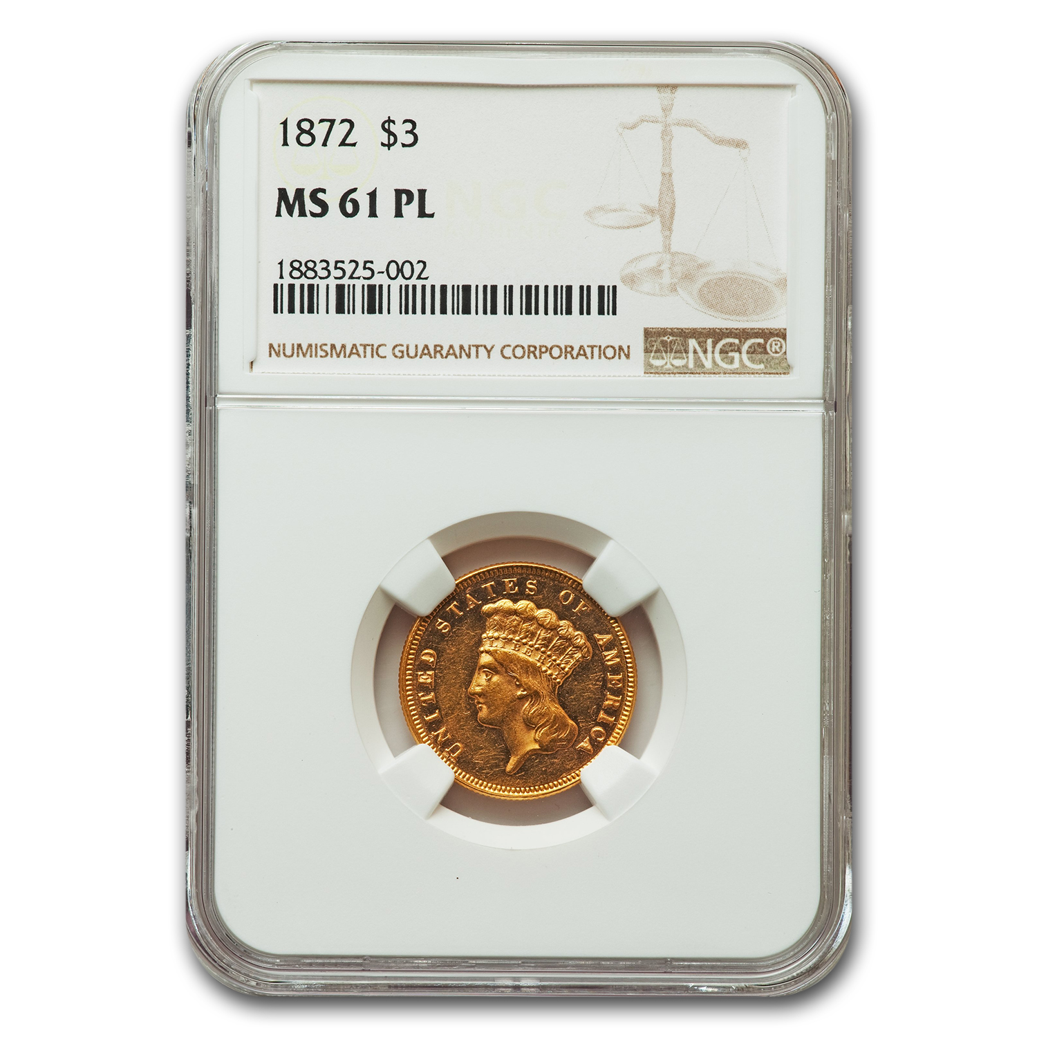 1872 Gold $3.00 Princess MS-61 PL NGC