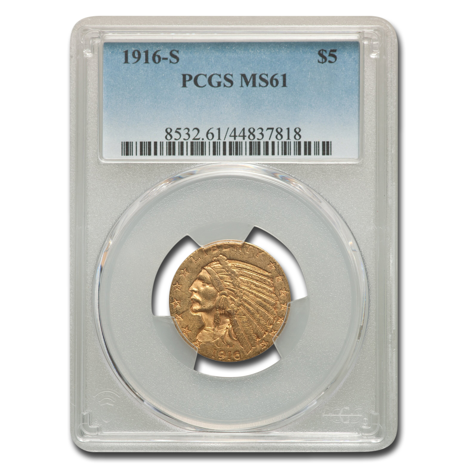 1916-S $5 Indian Gold Half Eagle MS-61 PCGS