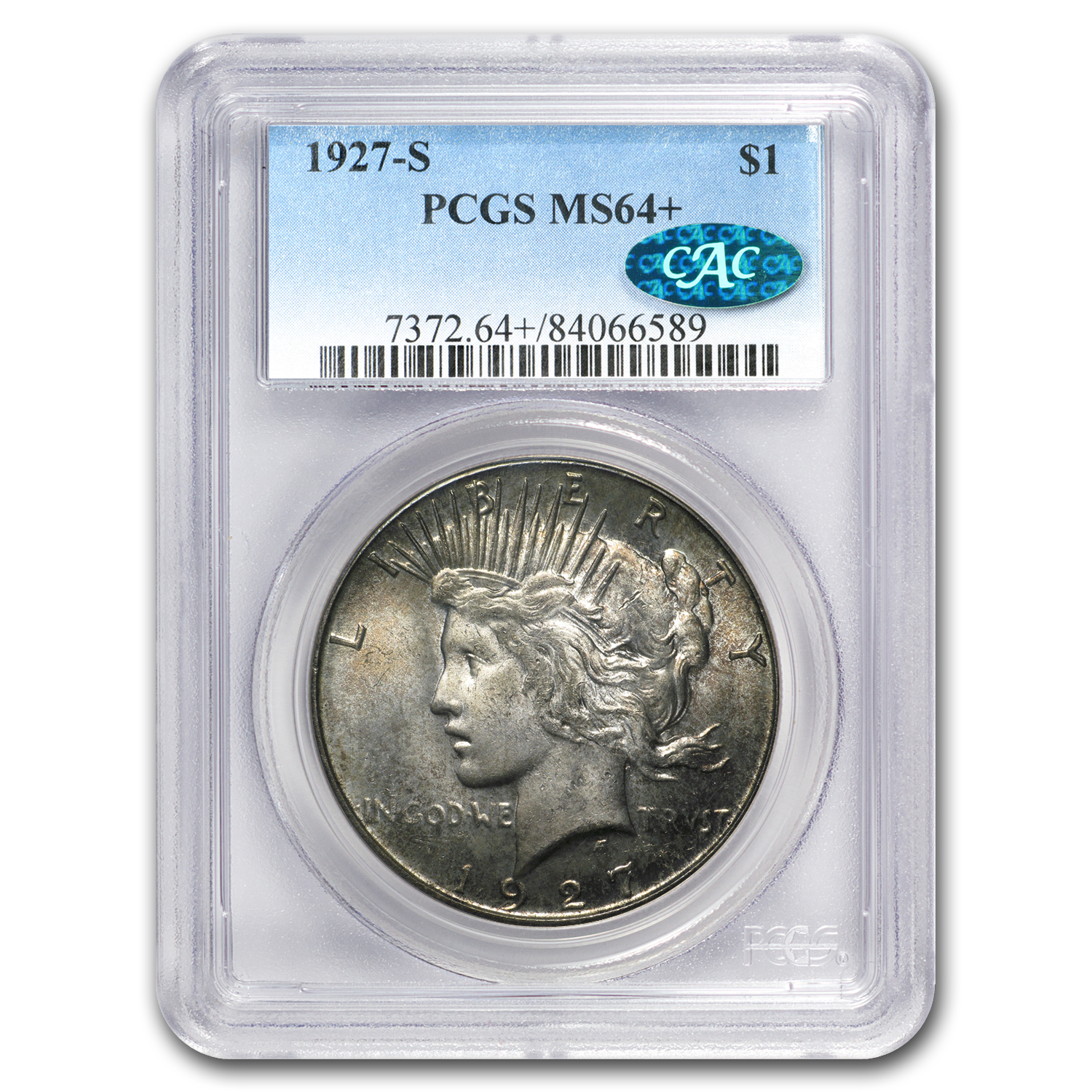1927-S Peace Dollar MS-64+ CAC PCGS
