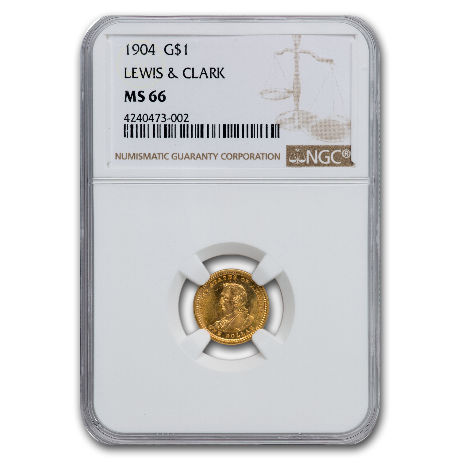1904 Gold $1.00 Lewis and Clark MS-66 NGC