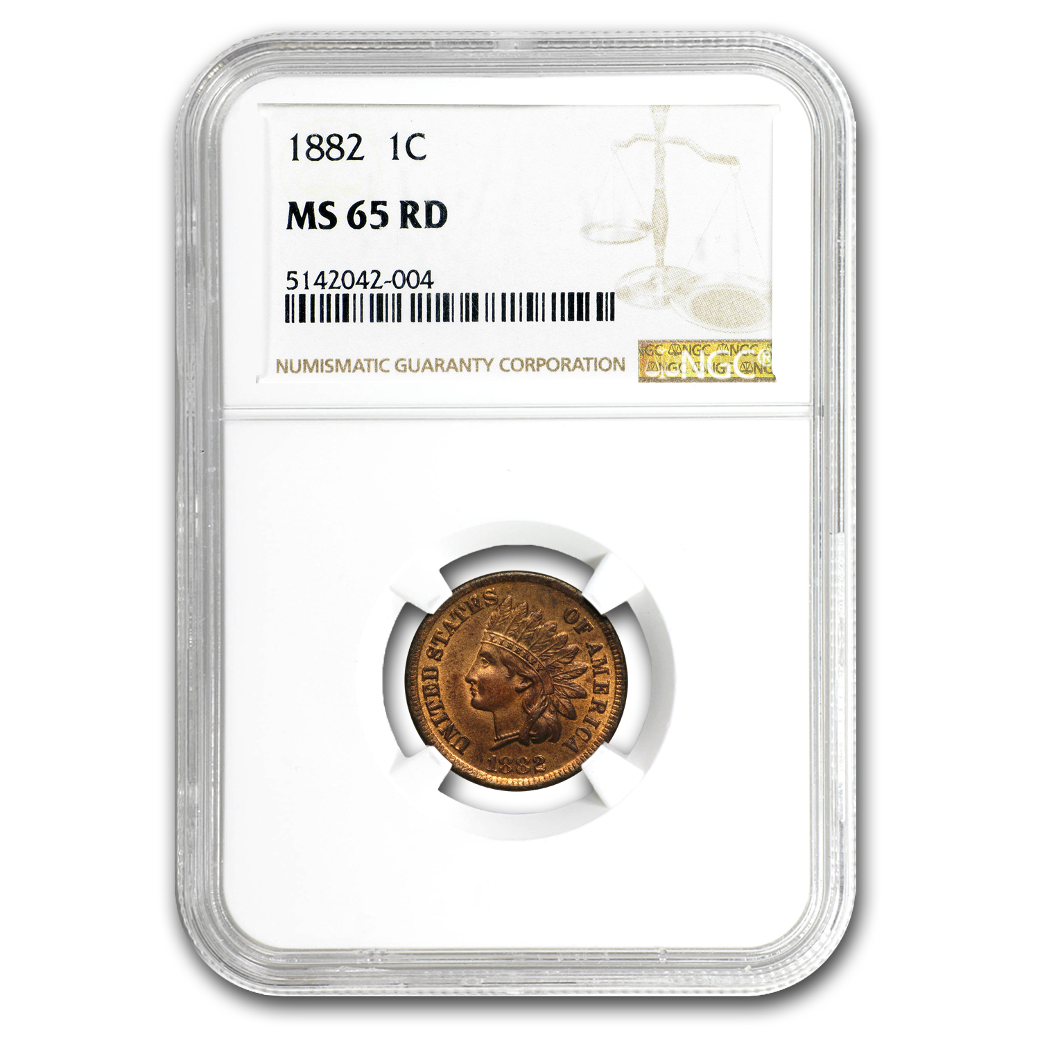 1882 Indian Cent MS-65 NGC (Red)