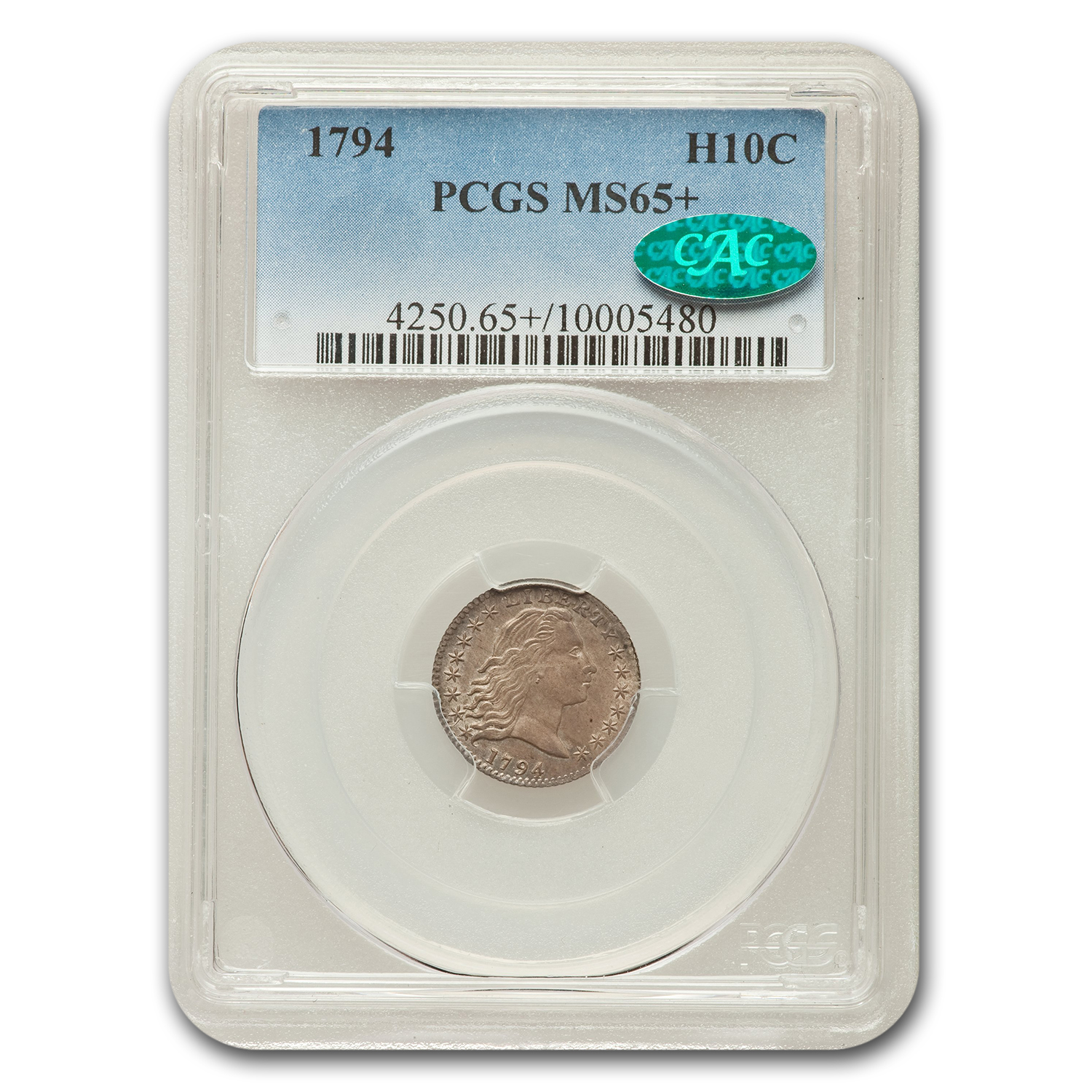 1794 Flowing Hair Half Dime MS-65+ CAC PCGS