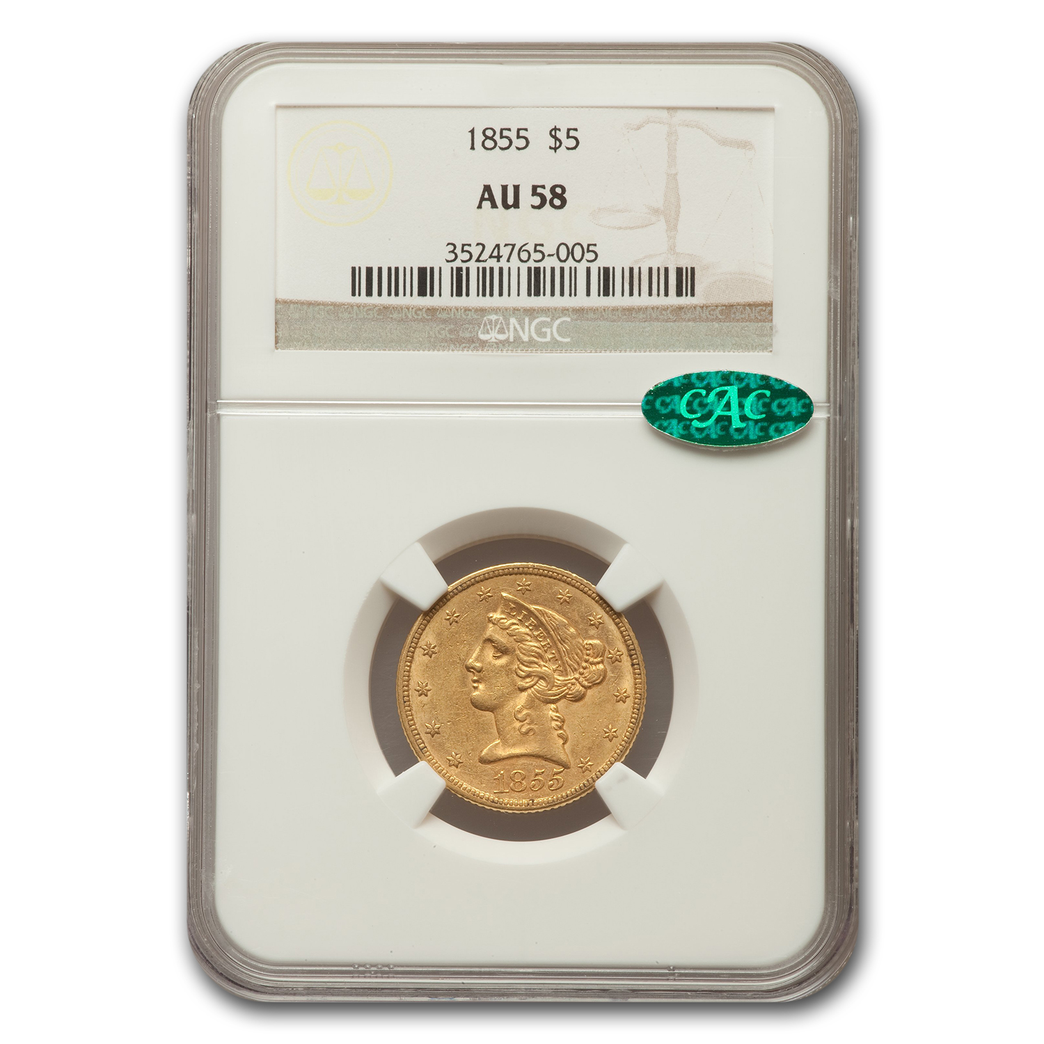 1855 $5 Liberty Half Eagle Almost Unc - 58 CAC NGC