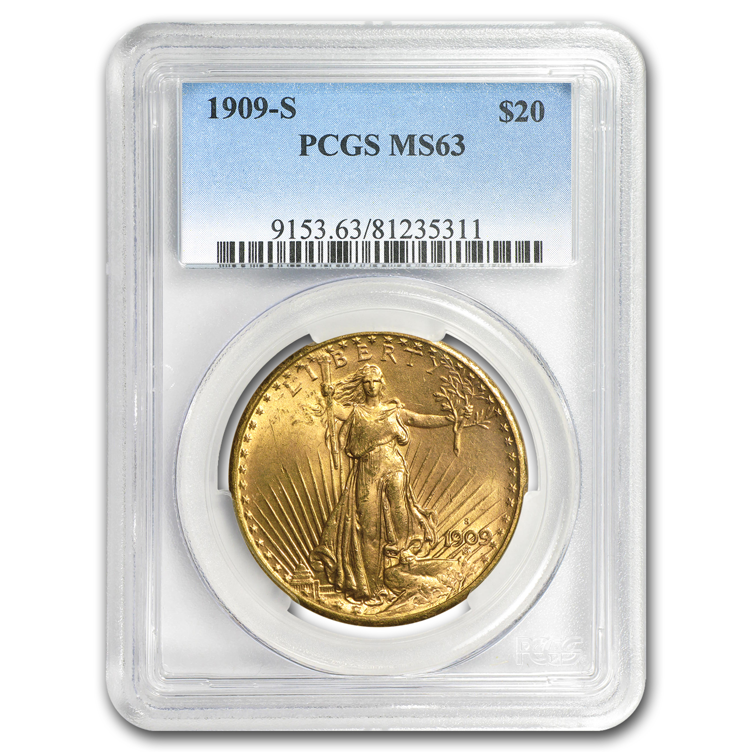 1909-S $20 St. Gaudens Gold Double Eagle MS-63 PCGS