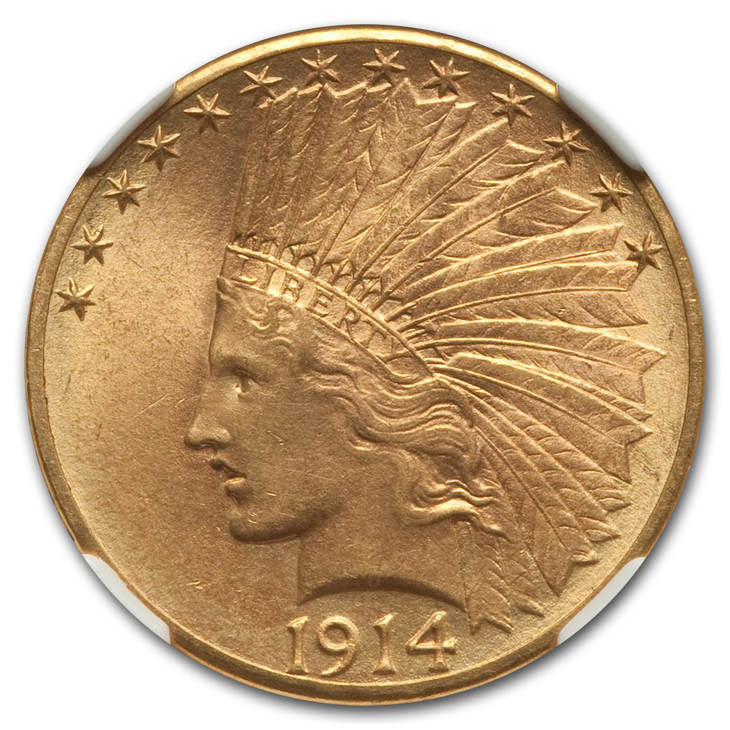 1914-D $10 Indian Gold Eagle MS-64 NGC