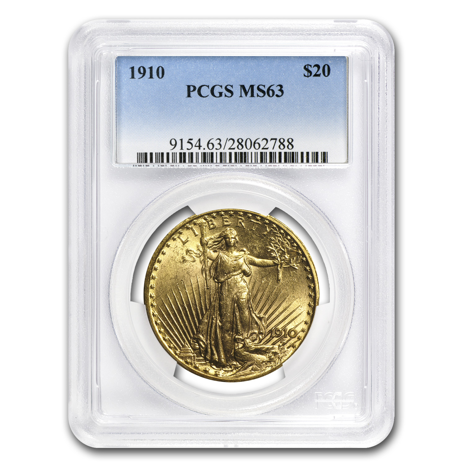 1910 $20 St. Gaudens Gold Double Eagle MS-63 PCGS