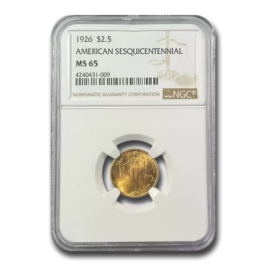 1926 Gold $2.50 American Sesquicentennial MS-65 NGC
