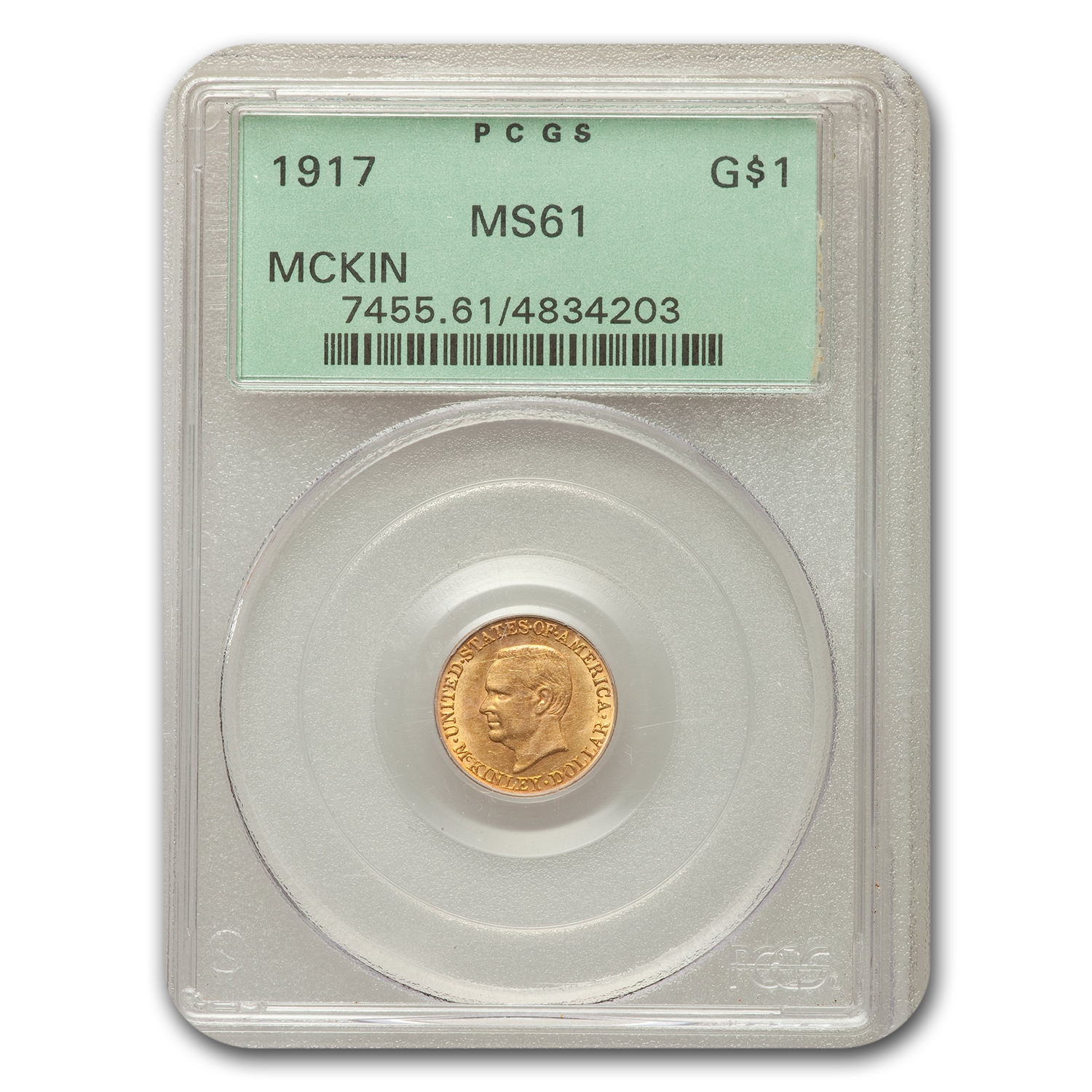 1917 Gold $1.00 McKinley MS-61 PCGS