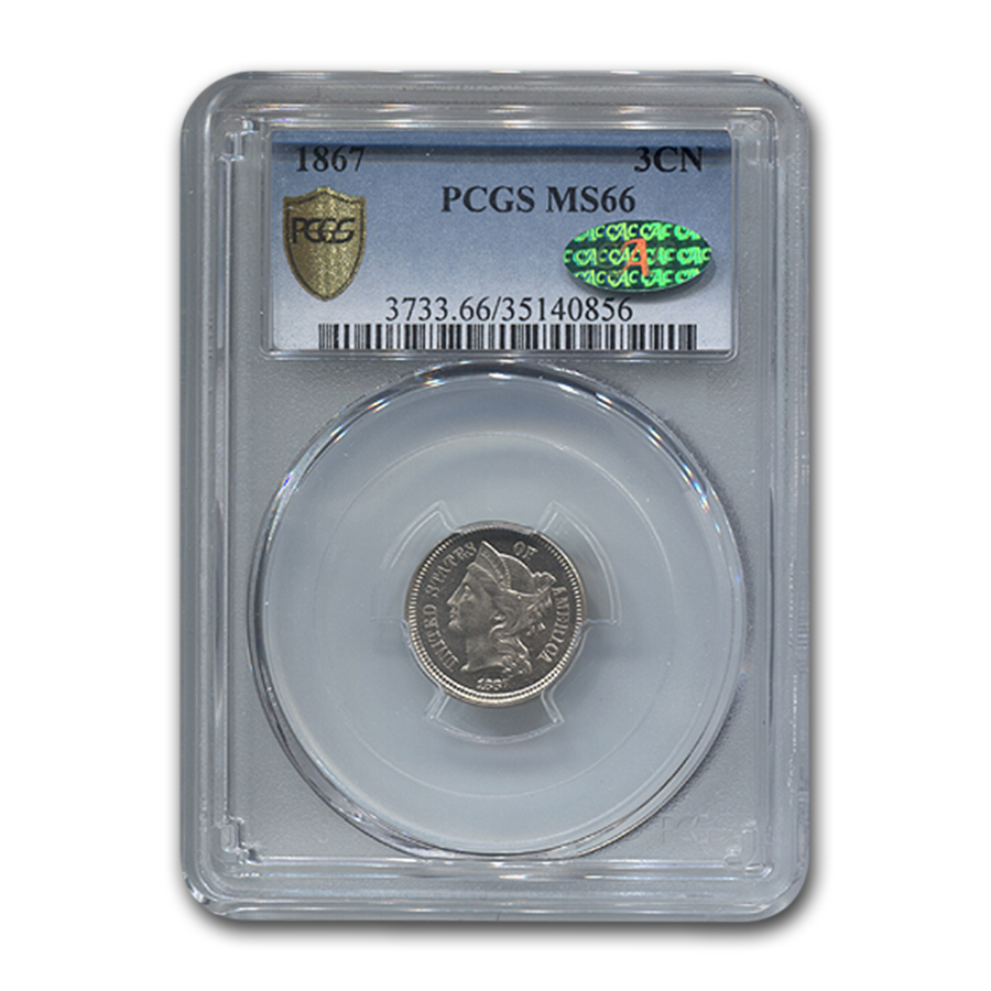 1867 Three Cent Nickel MS-66 PCGS