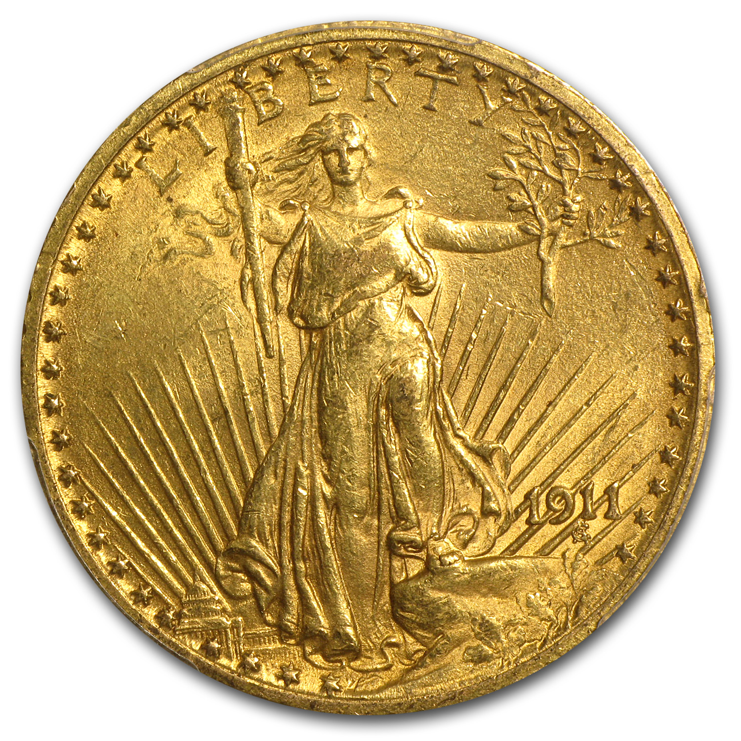 1911 $20 St. Gaudens Gold Double Eagle MS-61 PCGS