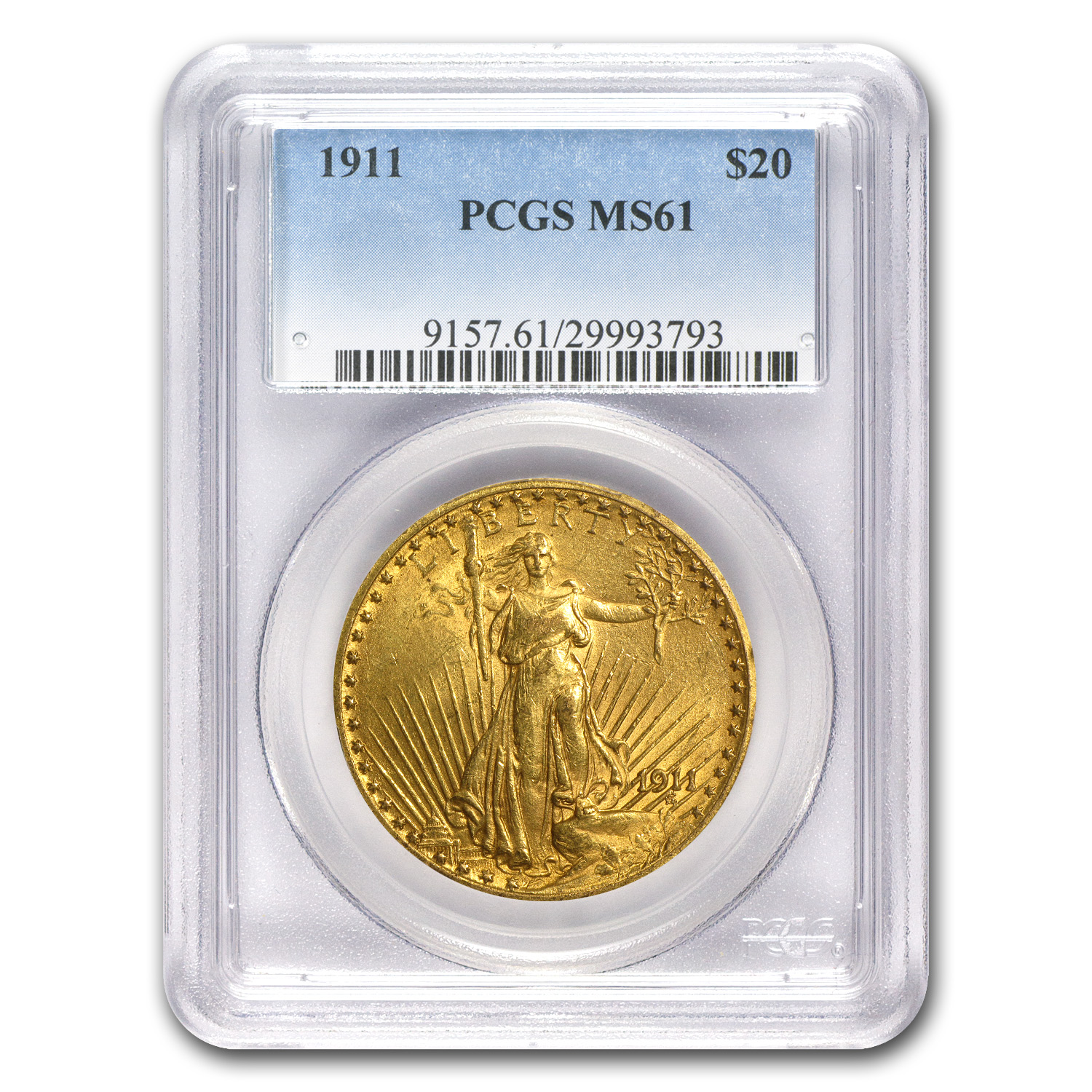 1911 $20 St. Gaudens Gold Double Eagle - MS-61 PCGS