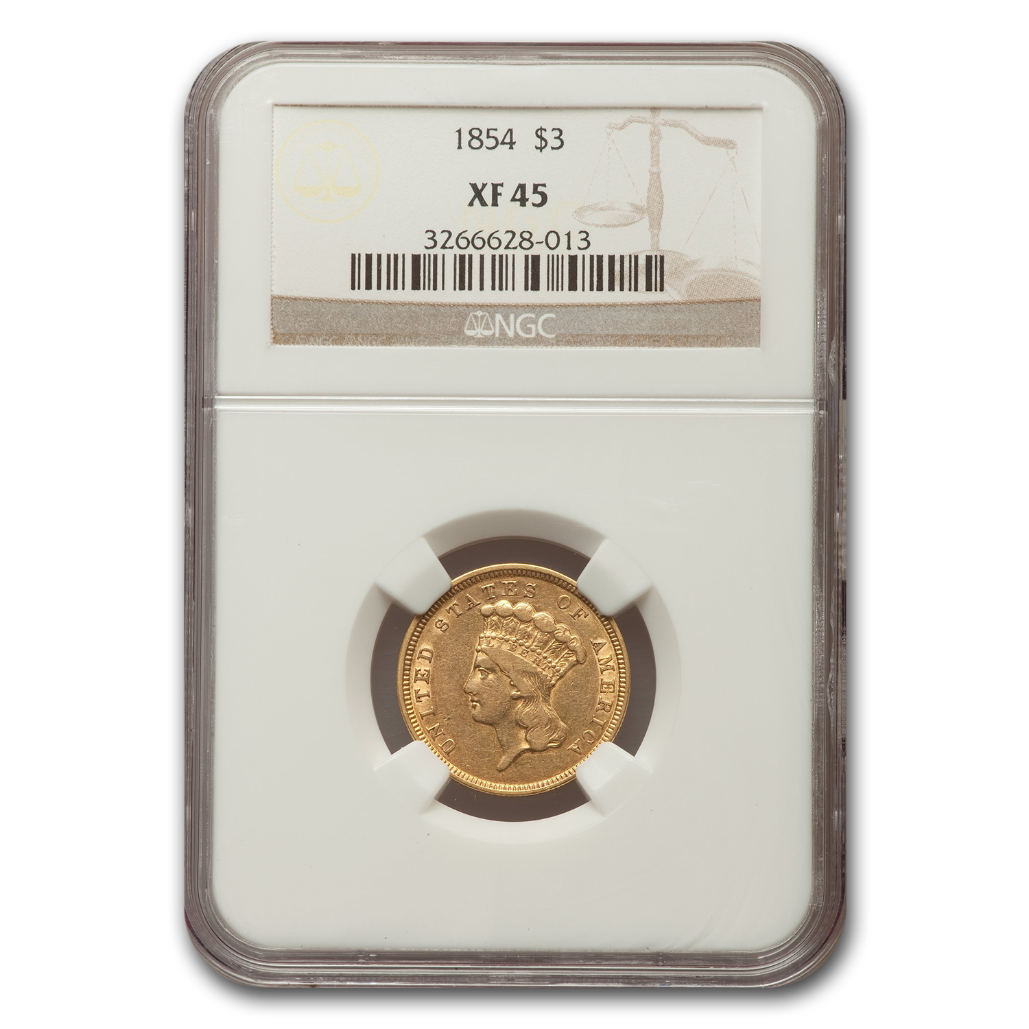 1854 3 Three Dollar Gold Piece Extra Fine - 45 NGC