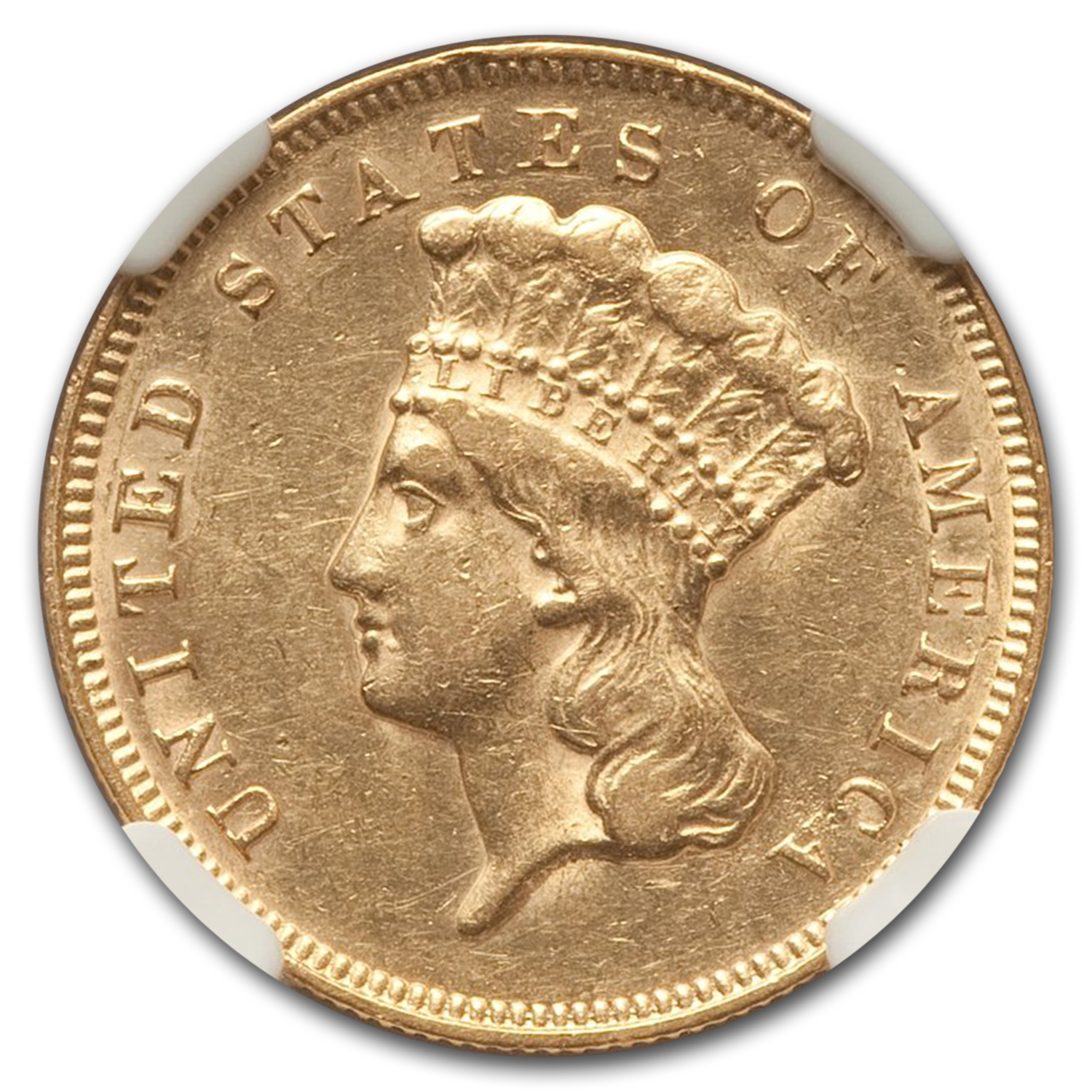 1878 3 Three Dollar Gold Piece Almost Unc - 53 NGC