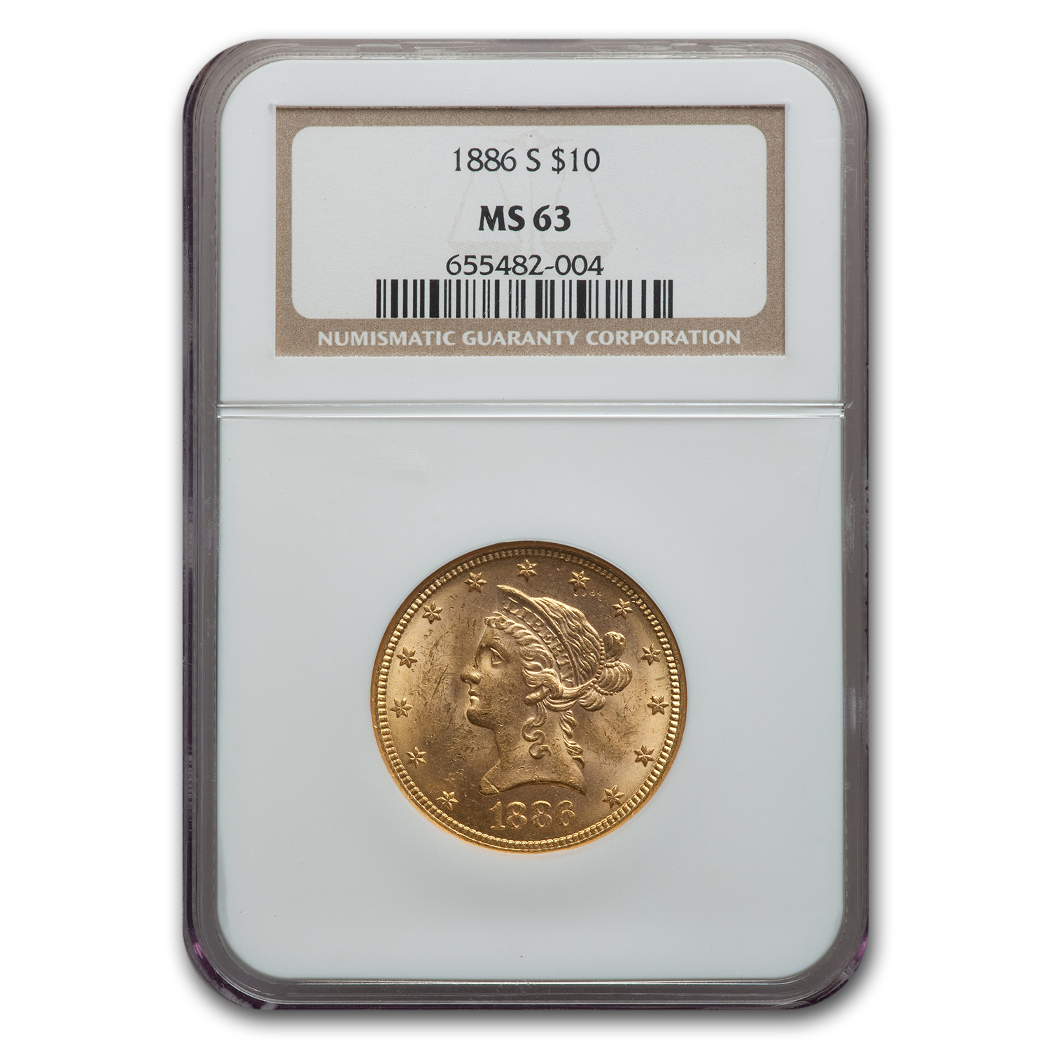 1886-S $10 Liberty Gold Eagle MS-63 NGC