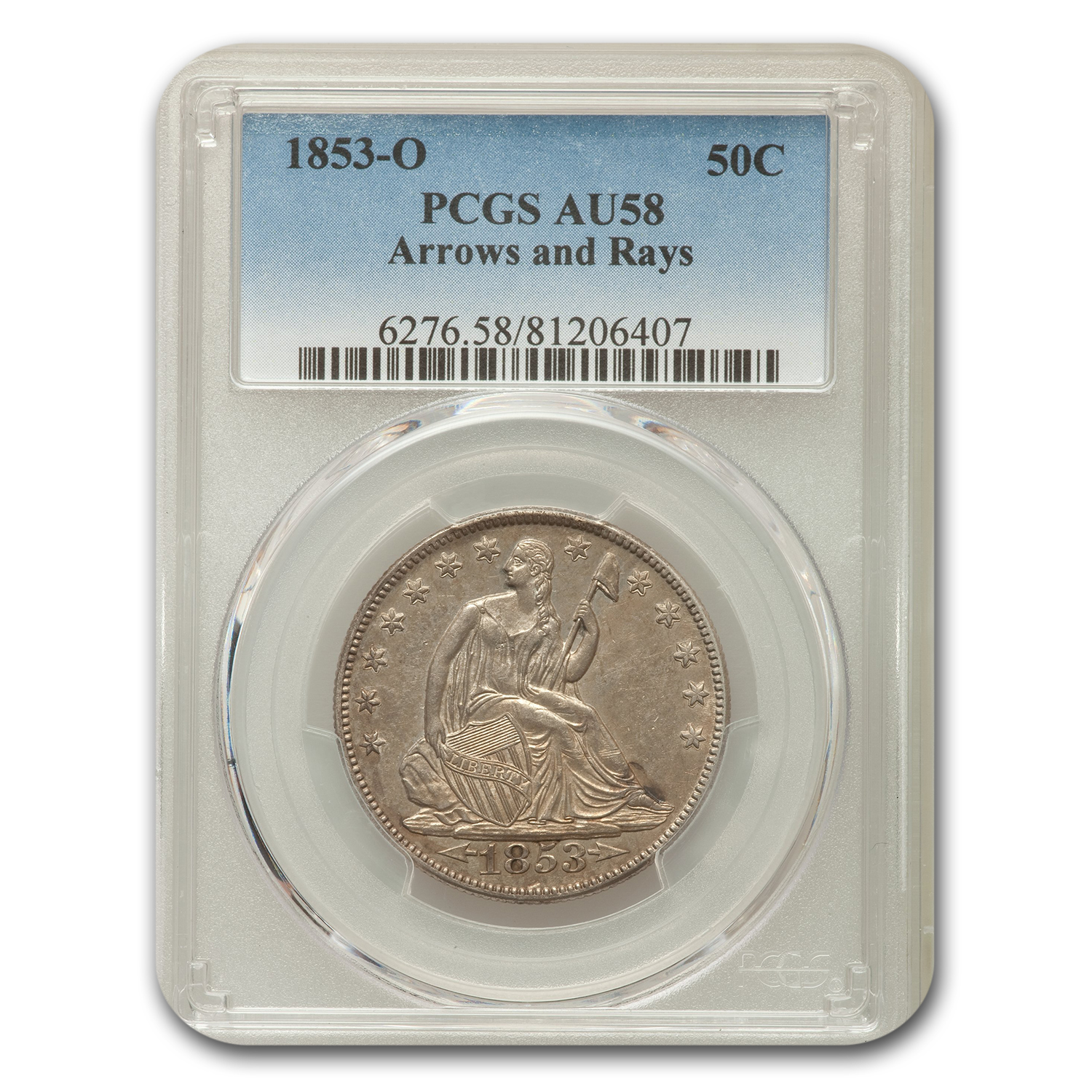 1853-O Liberty Seated Half Dollar AU-58 PCGS