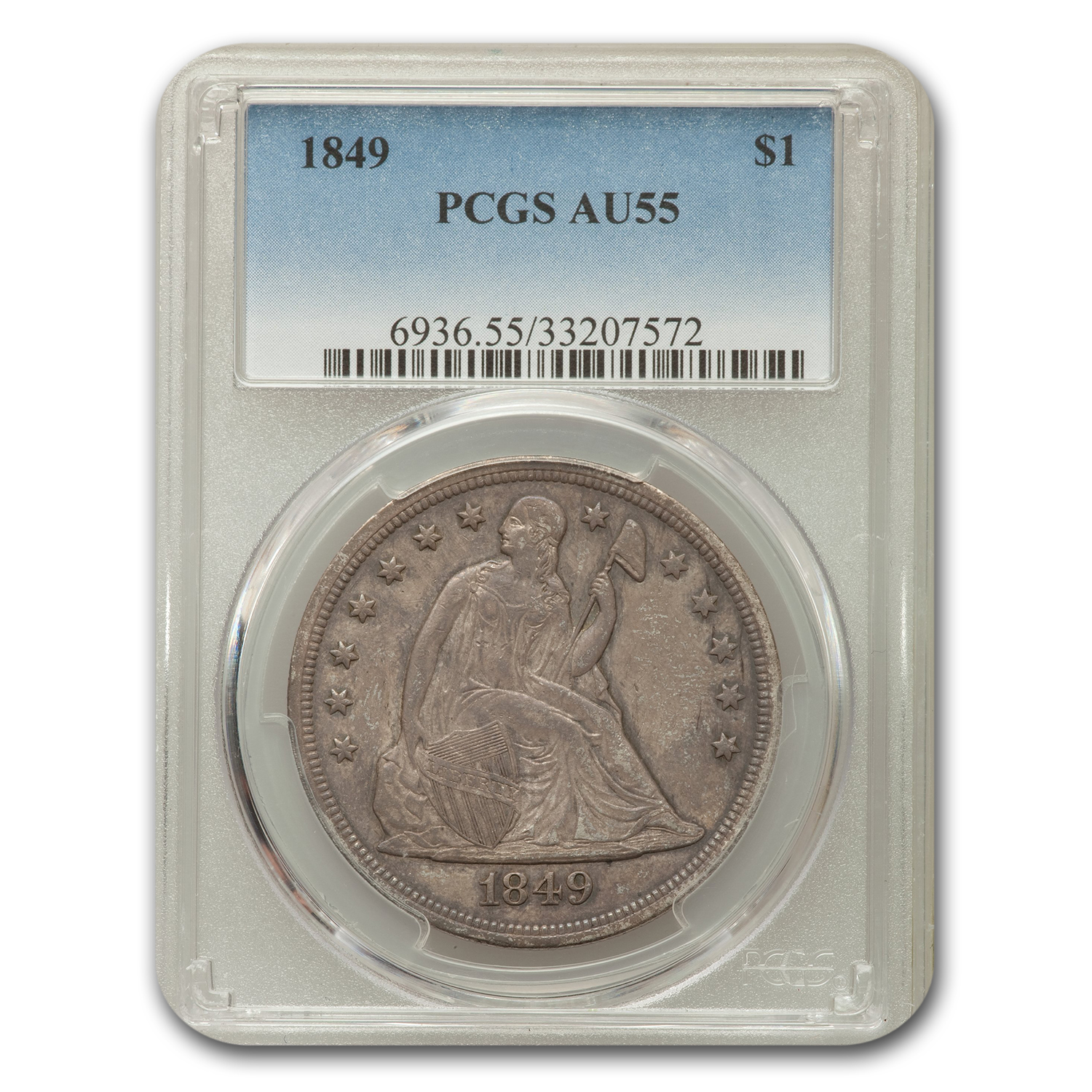 1849 Liberty Seated Dollar AU-55 PCGS
