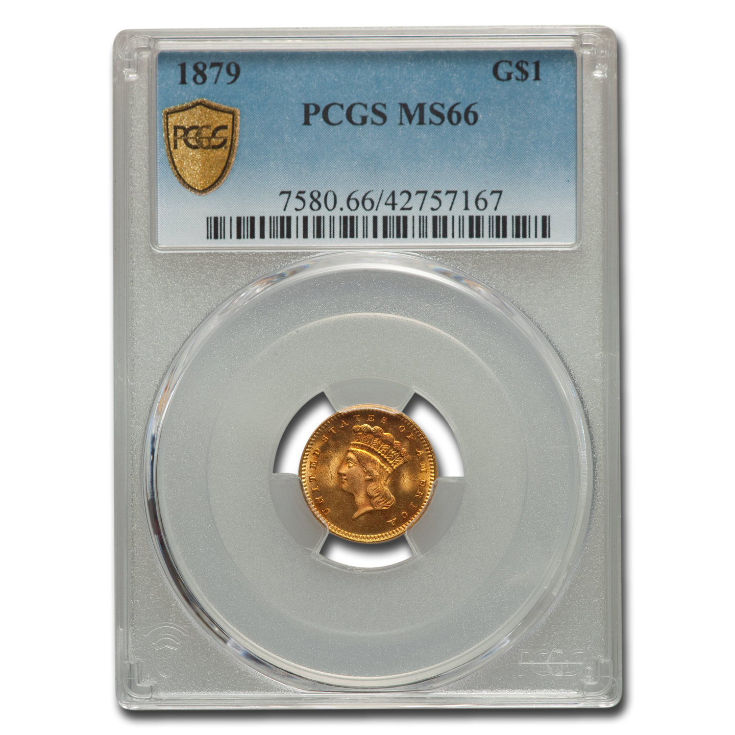 1879 $1 Indian Head Gold MS-66 PCGS