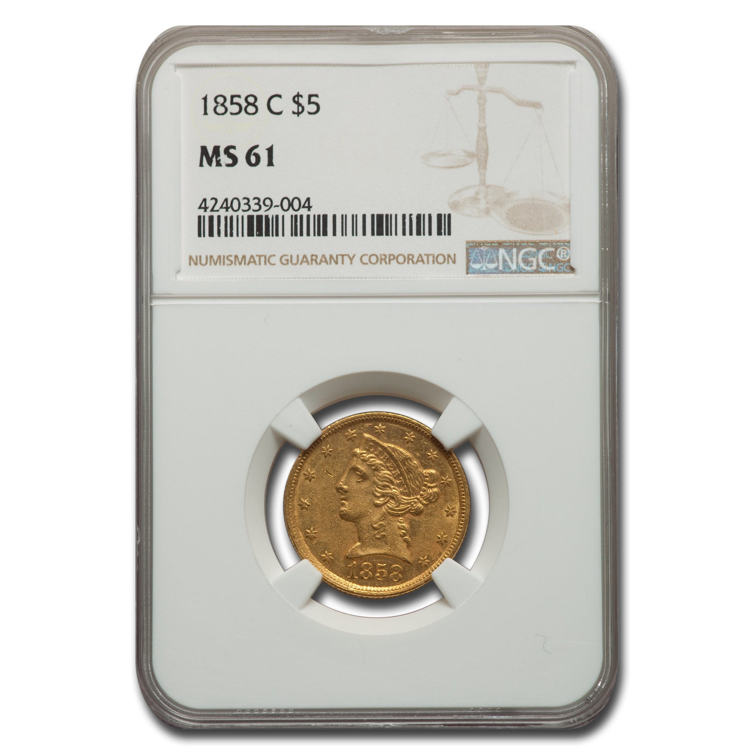 1858-C $5 Liberty Half Eagle MS-61 NGC