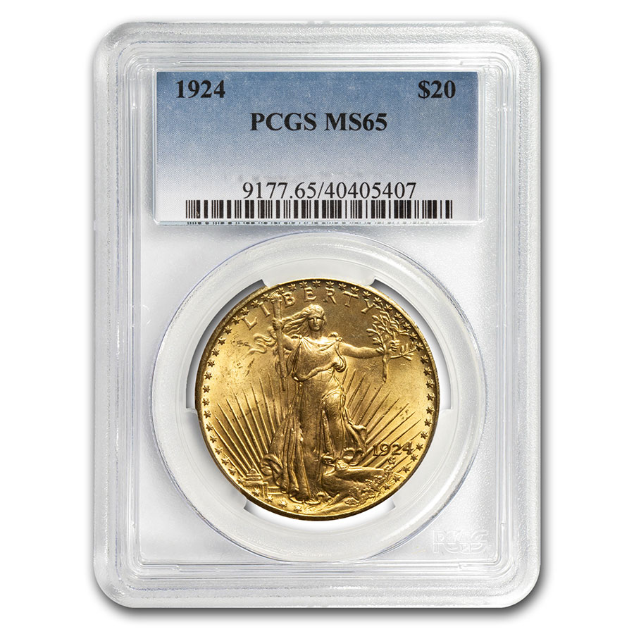 1924 $20 St. Gaudens Gold Double Eagle MS-65 PCGS