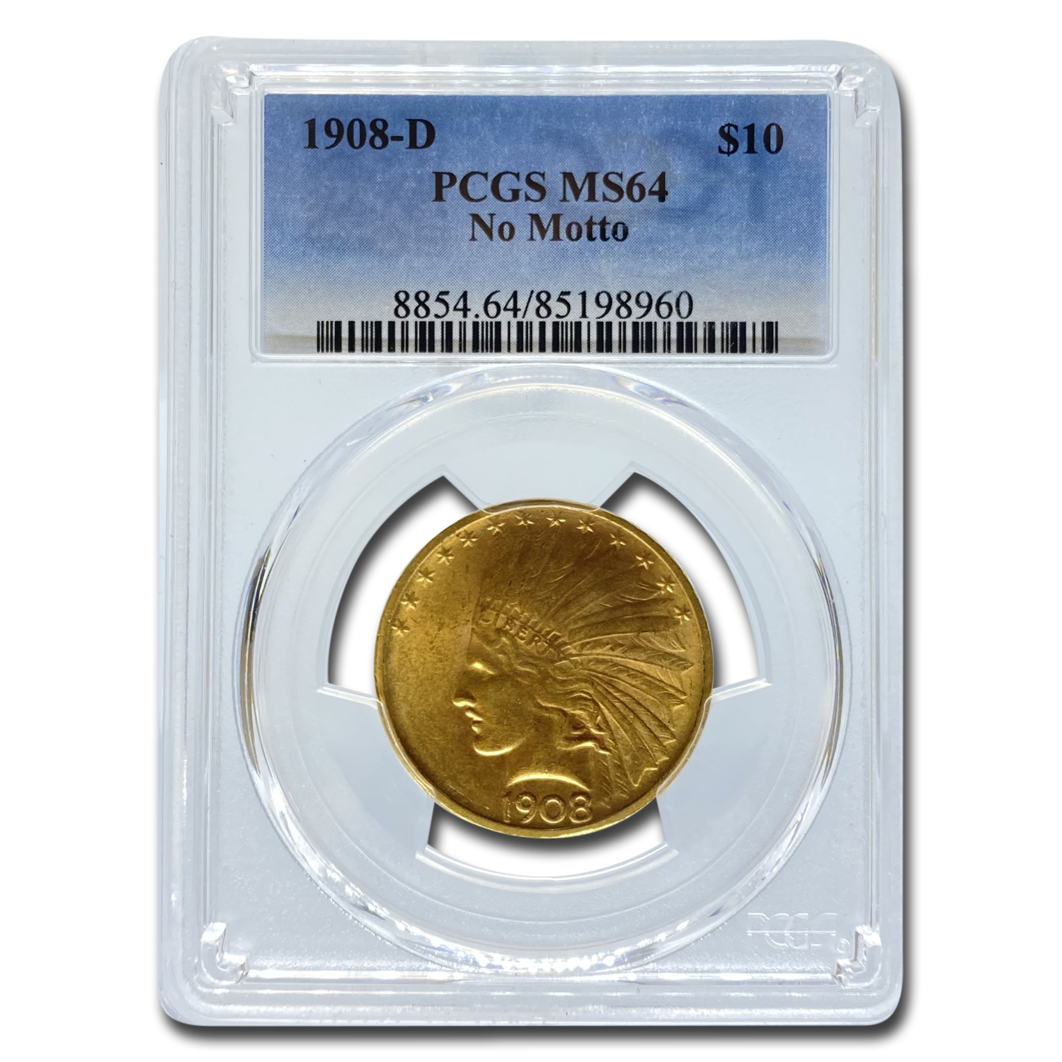 1908-D $10 Indian Gold Eagle MS-64 PCGS