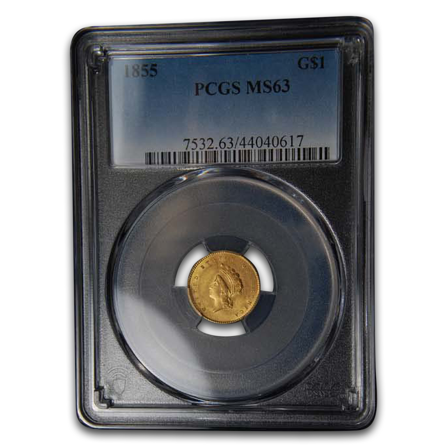 1855 $1 Indian Head Gold Type-2 MS-63 PCGS