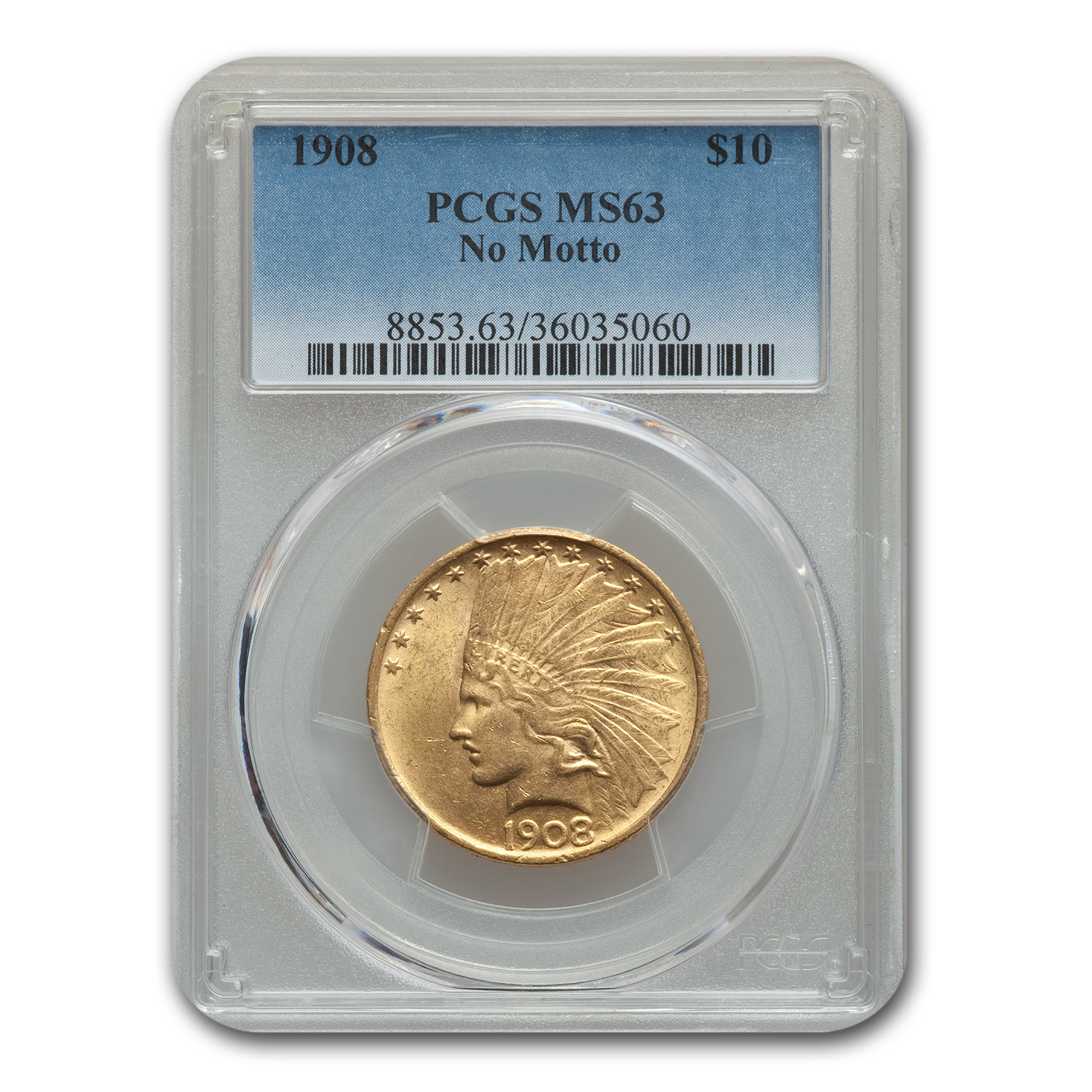 1908 $10 Indian Gold Eagle No Motto MS-63 PCGS