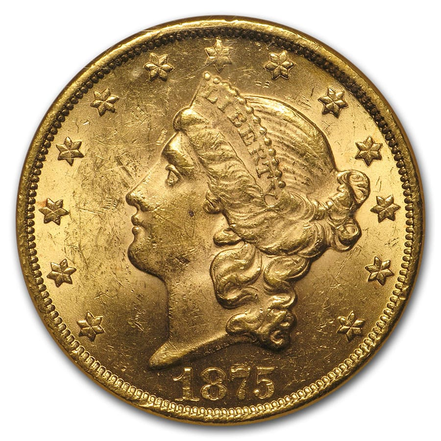 1875 20 Liberty Gold Double Eagle MS-61 NGC