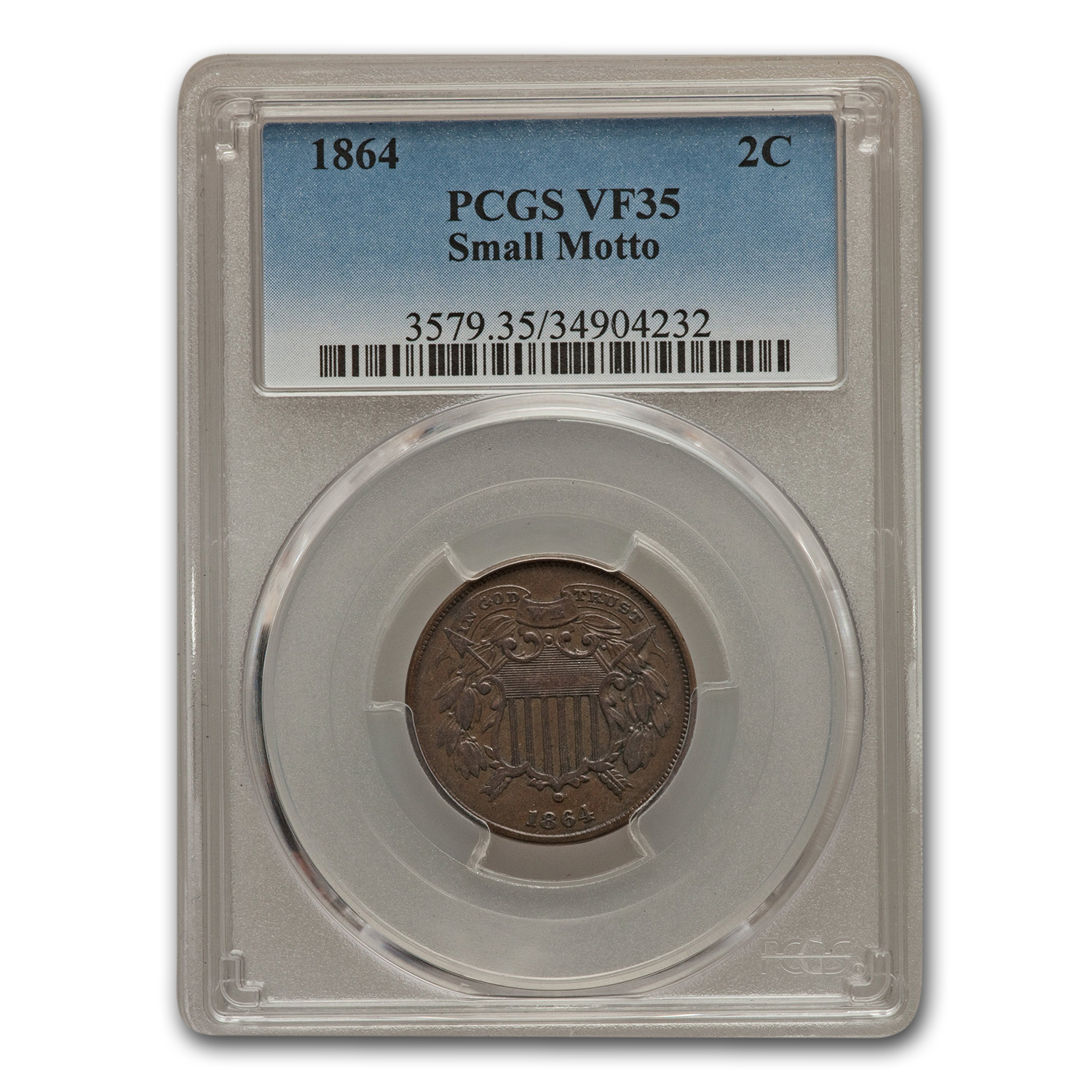 1864 Two Cent Piece Small Motto VF-35 PCGS