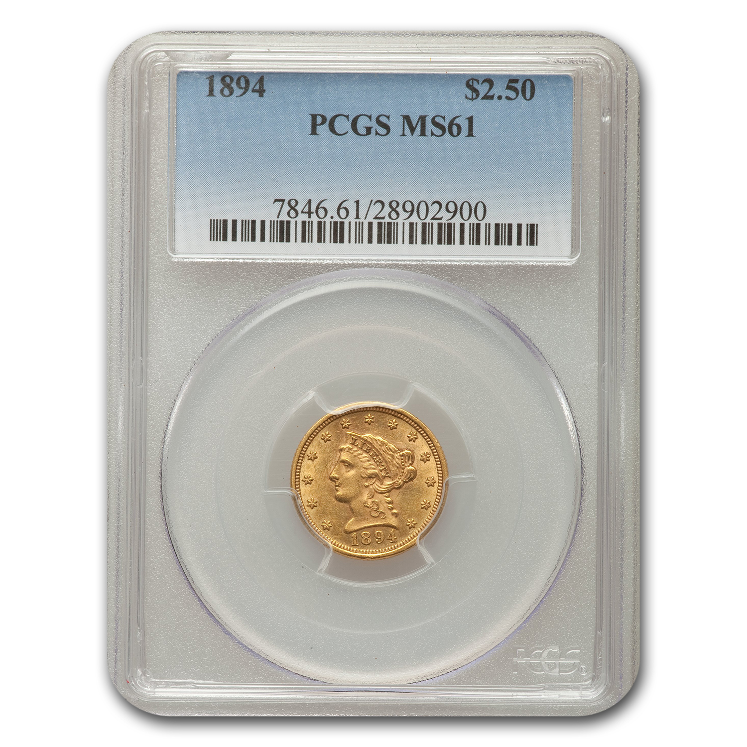 1894 $2.50 Liberty Gold Quarter Eagle MS-61 PCGS