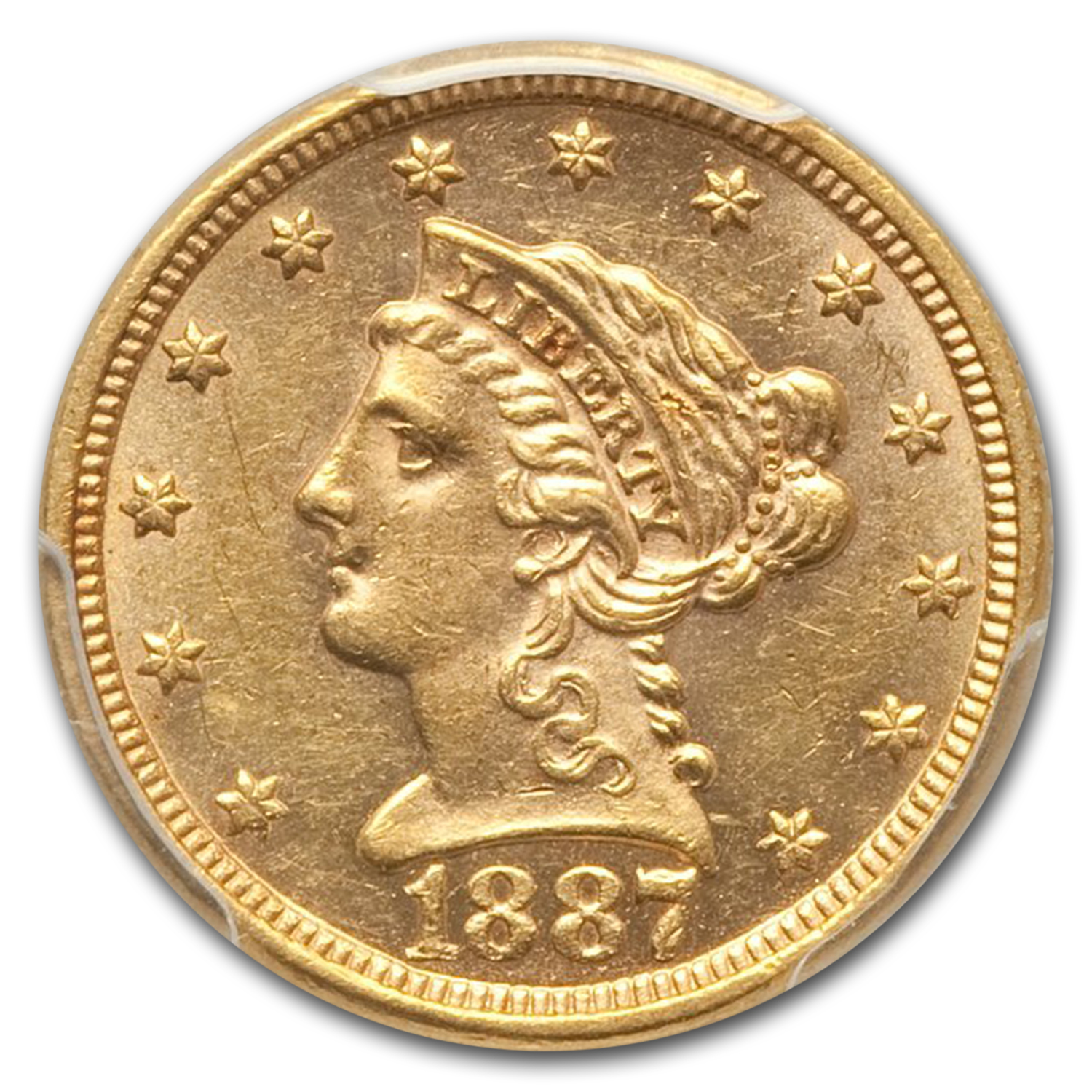 1887 $2.50 Liberty Gold Quarter Eagle MS-62 PCGS