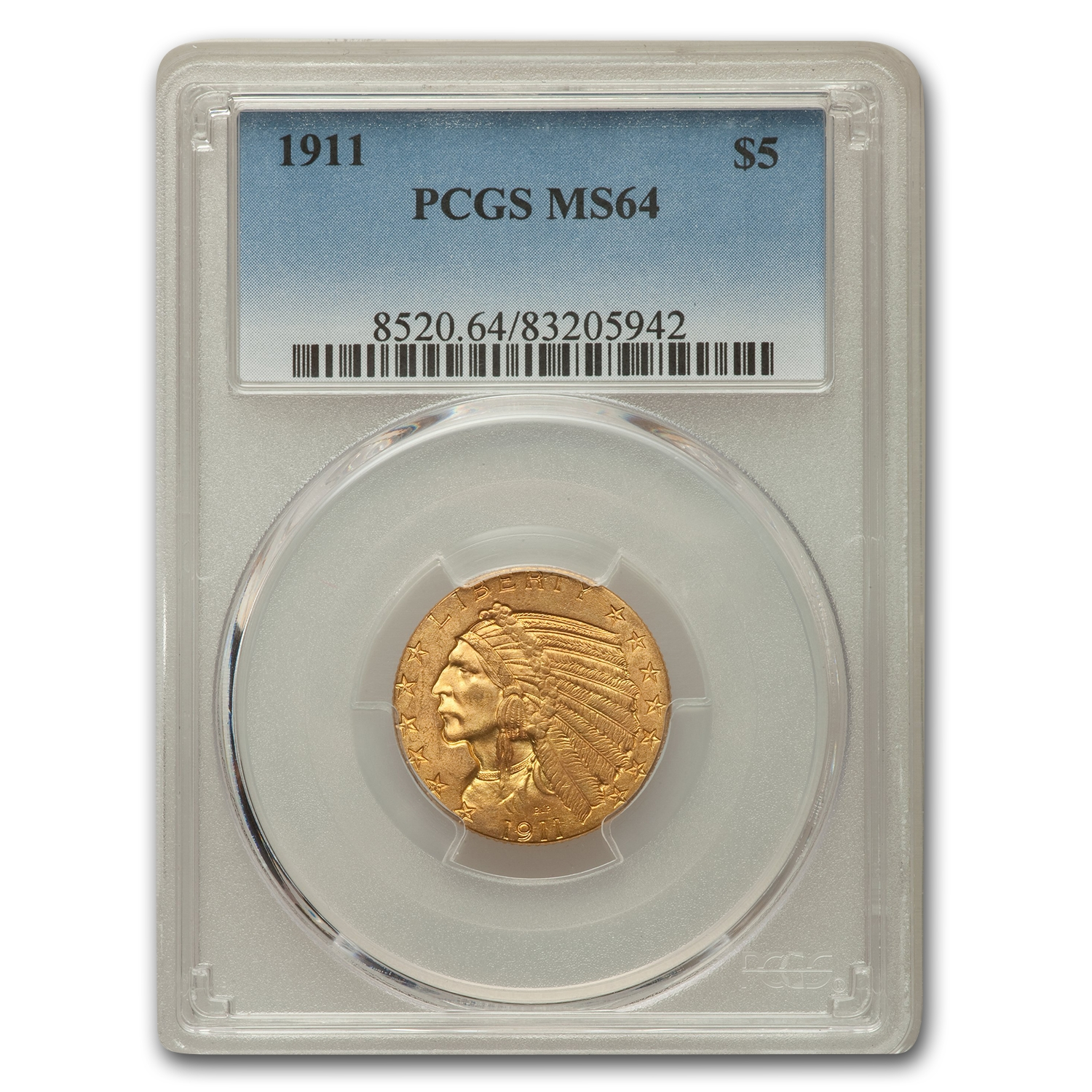 1911 $5 Indian Half Eagle MS-64 PCGS