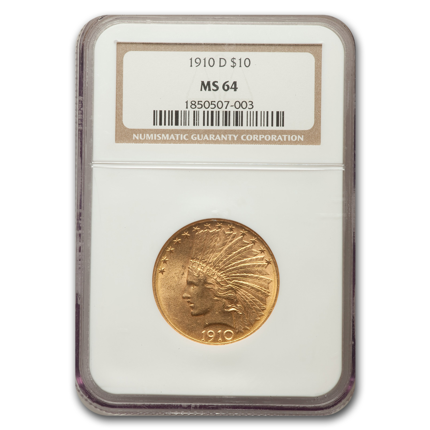 1910-D $10 Indian Gold Eagle MS-64 NGC