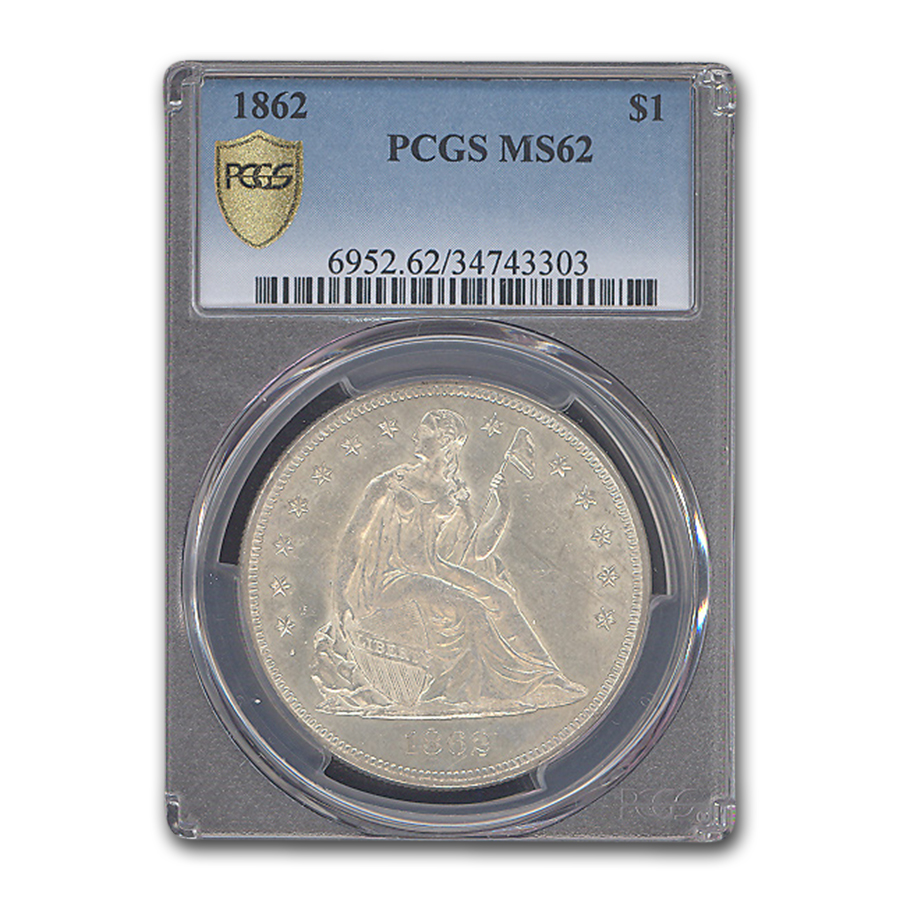 1862 Liberty Seated Dollar MS-62 PCGS