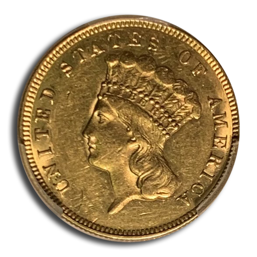 1874 $3 Three Dollar Gold Piece Almost Unc - 55 PCGS