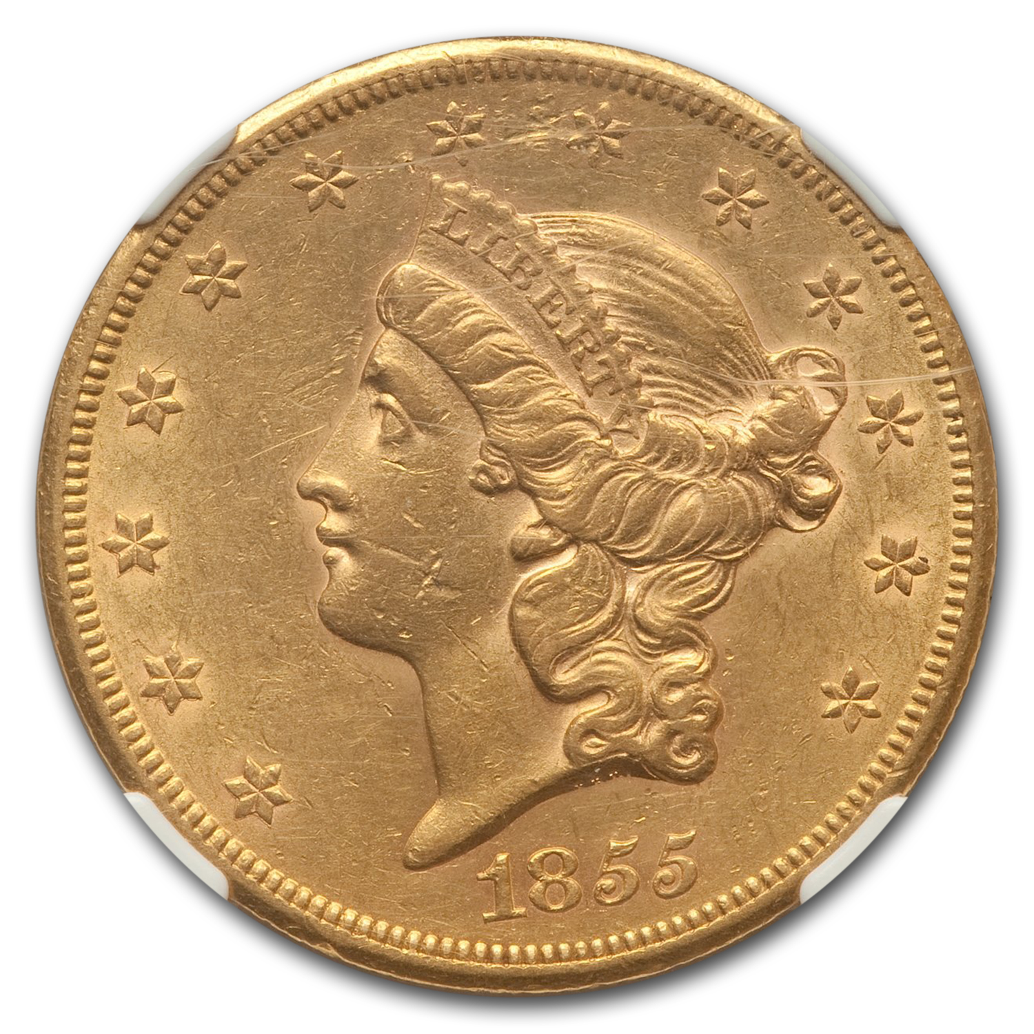 1855-S $20 Liberty Gold Double Eagle Almost Unc - 53 NGC