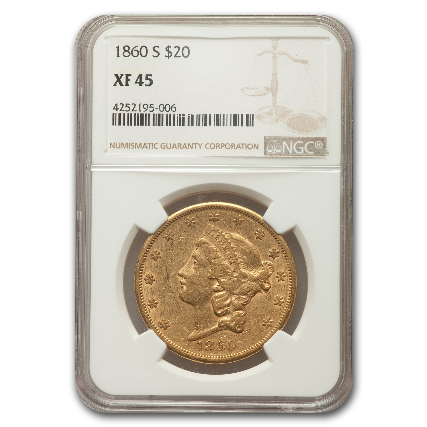 1860-S $20 Liberty Gold Double Eagle XF - 45 NGC