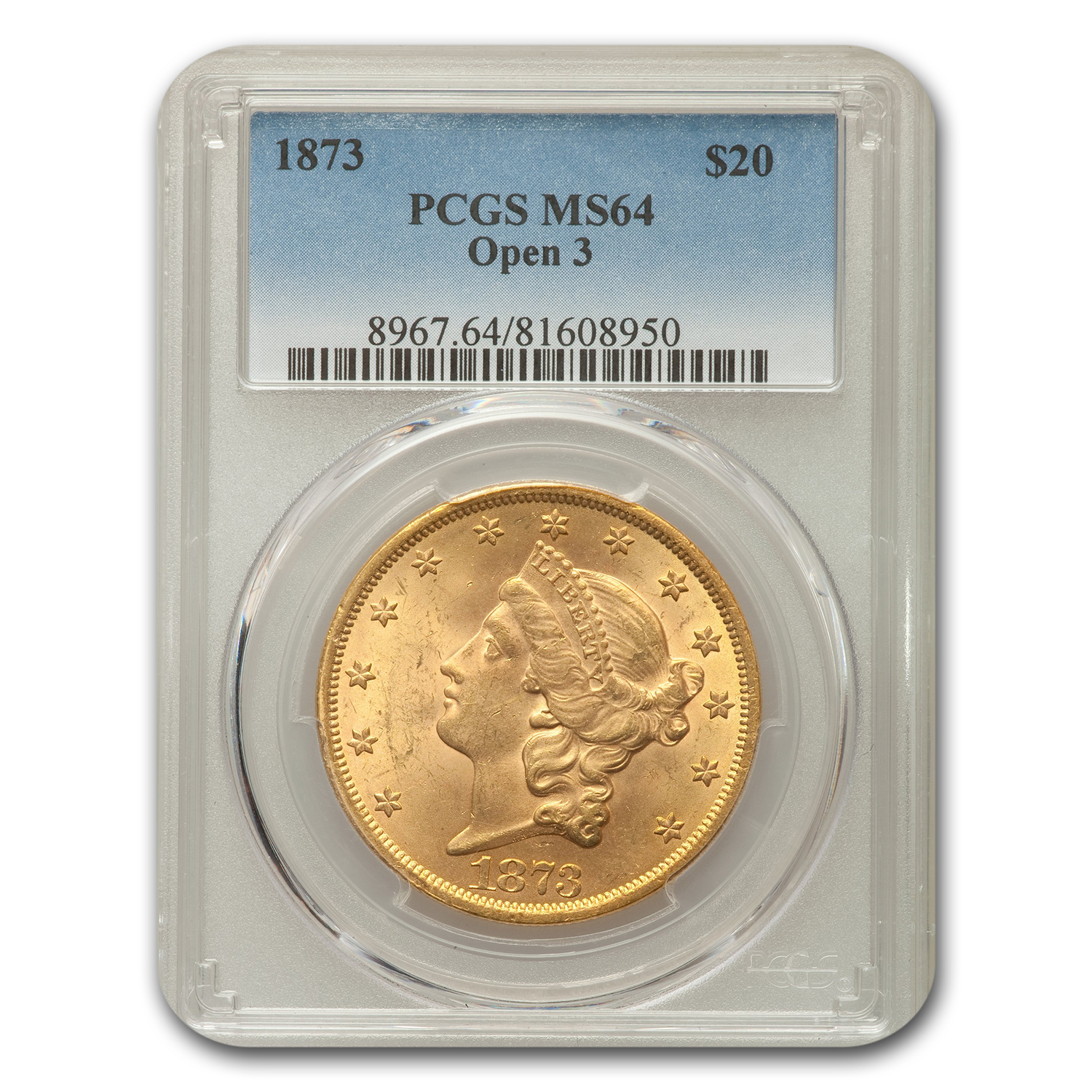 1873 $20 Liberty Double Eagle MS-64 PCGS