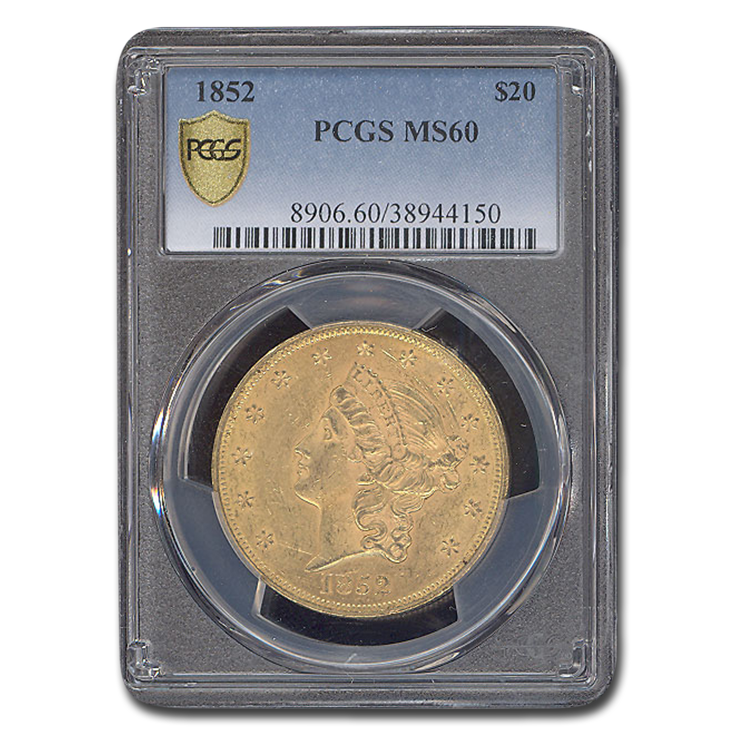 1852 $20 Liberty Double Eagle MS-60 PCGS