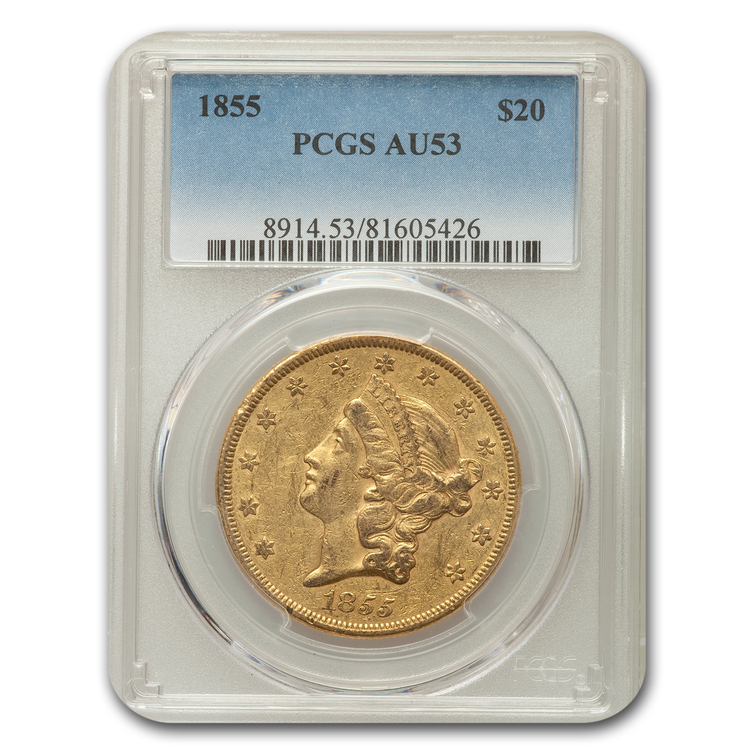 1855 $20 Liberty Double Eagle Almost unc - 53 PCGS