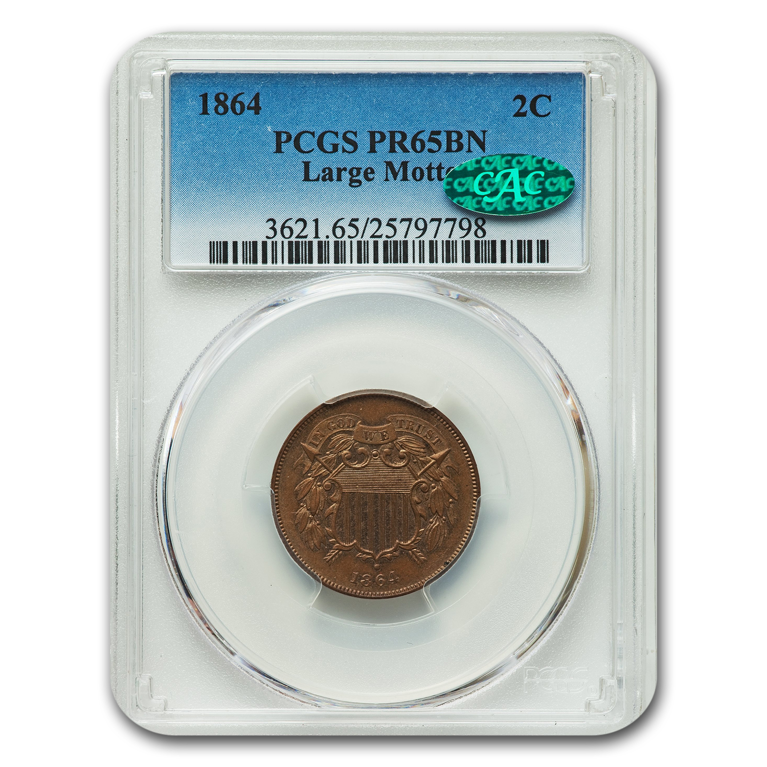 1864 2C Two Cent Piece Proof - 65 CAC PCGS