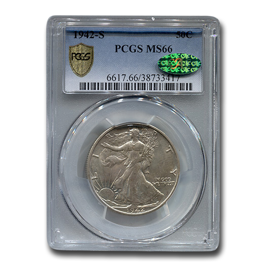 1942-S Walking Liberty Half Dollar MS-66 CAC PCGS
