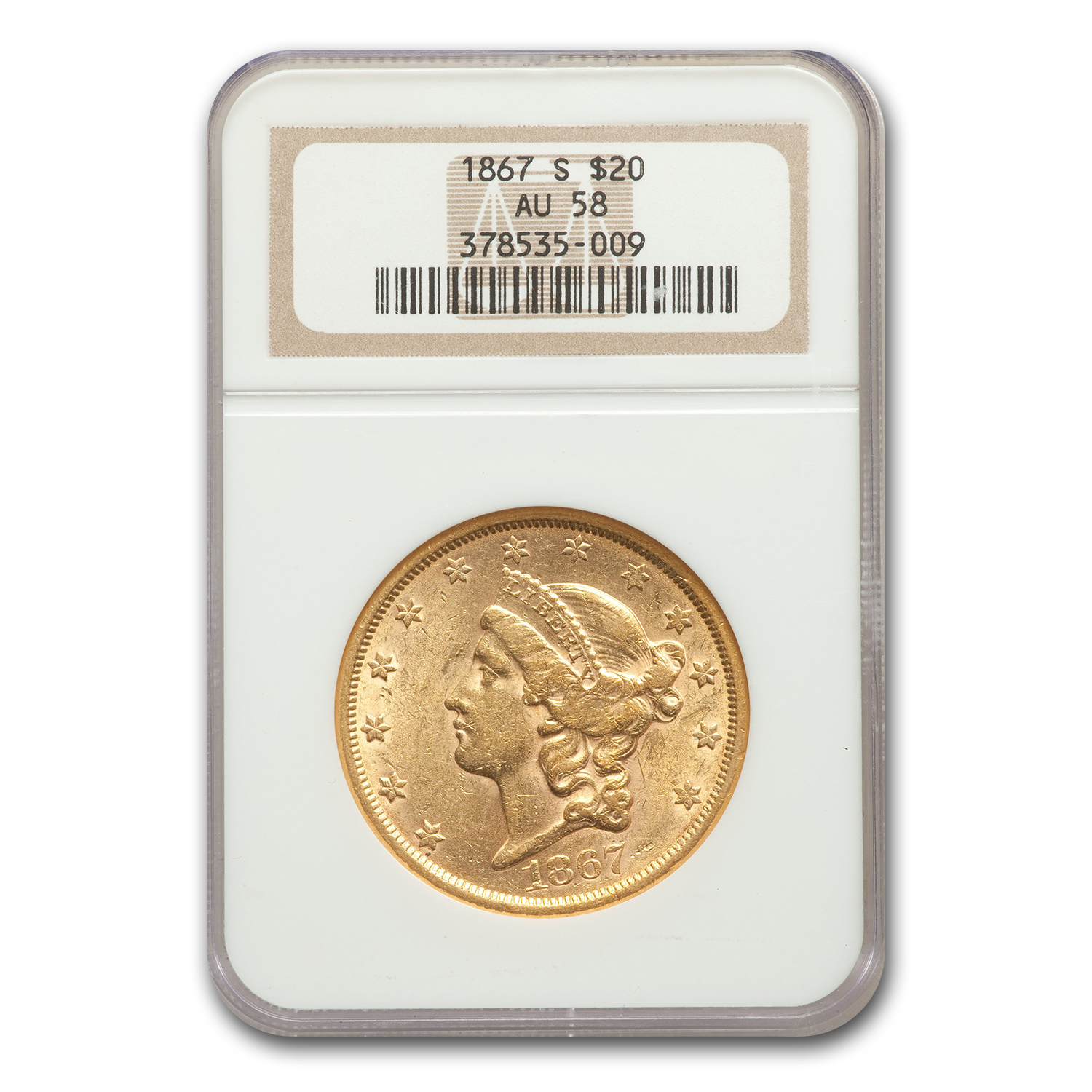 1867-S $20 Liberty Gold Double Eagle AU-58 NGC