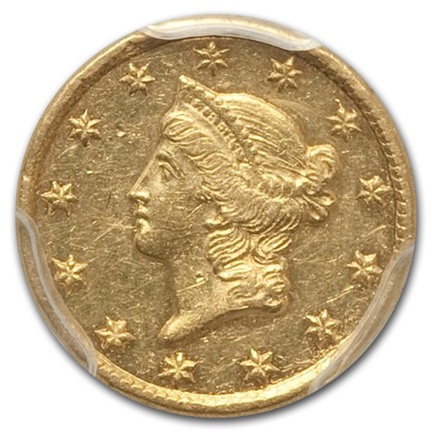 1850 G$1 Gold Dollar Almost unc - 53 PCGS