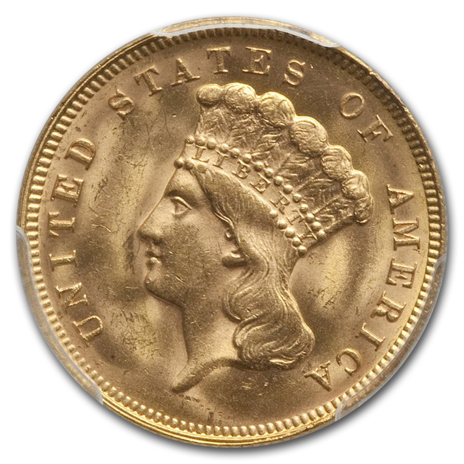 1878 $3 Three Dollar Gold Piece MS-64 + PCGS